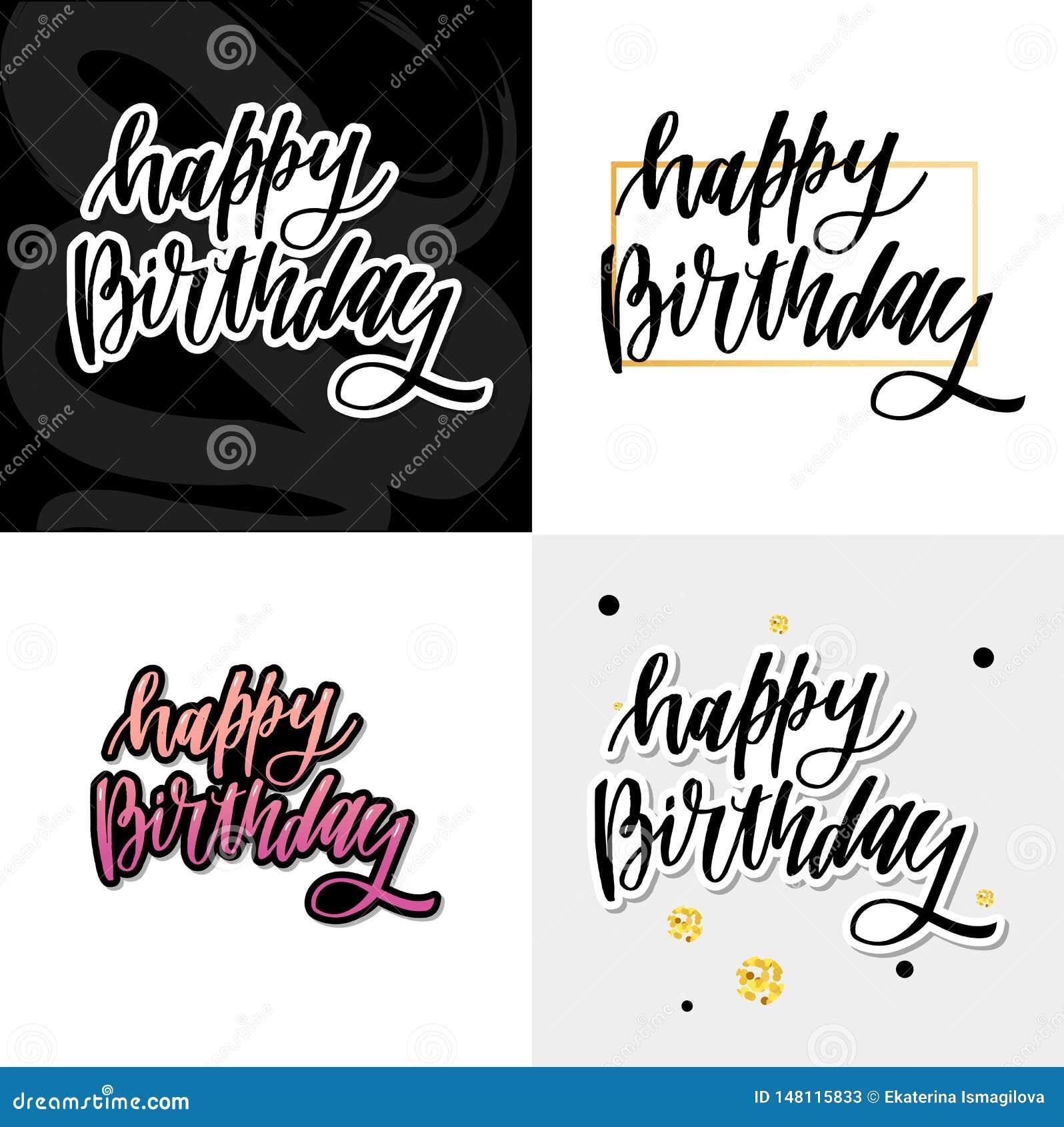 Gelukkig verjaardag hand getrokken vector het van letters voorzien ontwerp op achtergrond van patroon met strepen Perfectioneer v