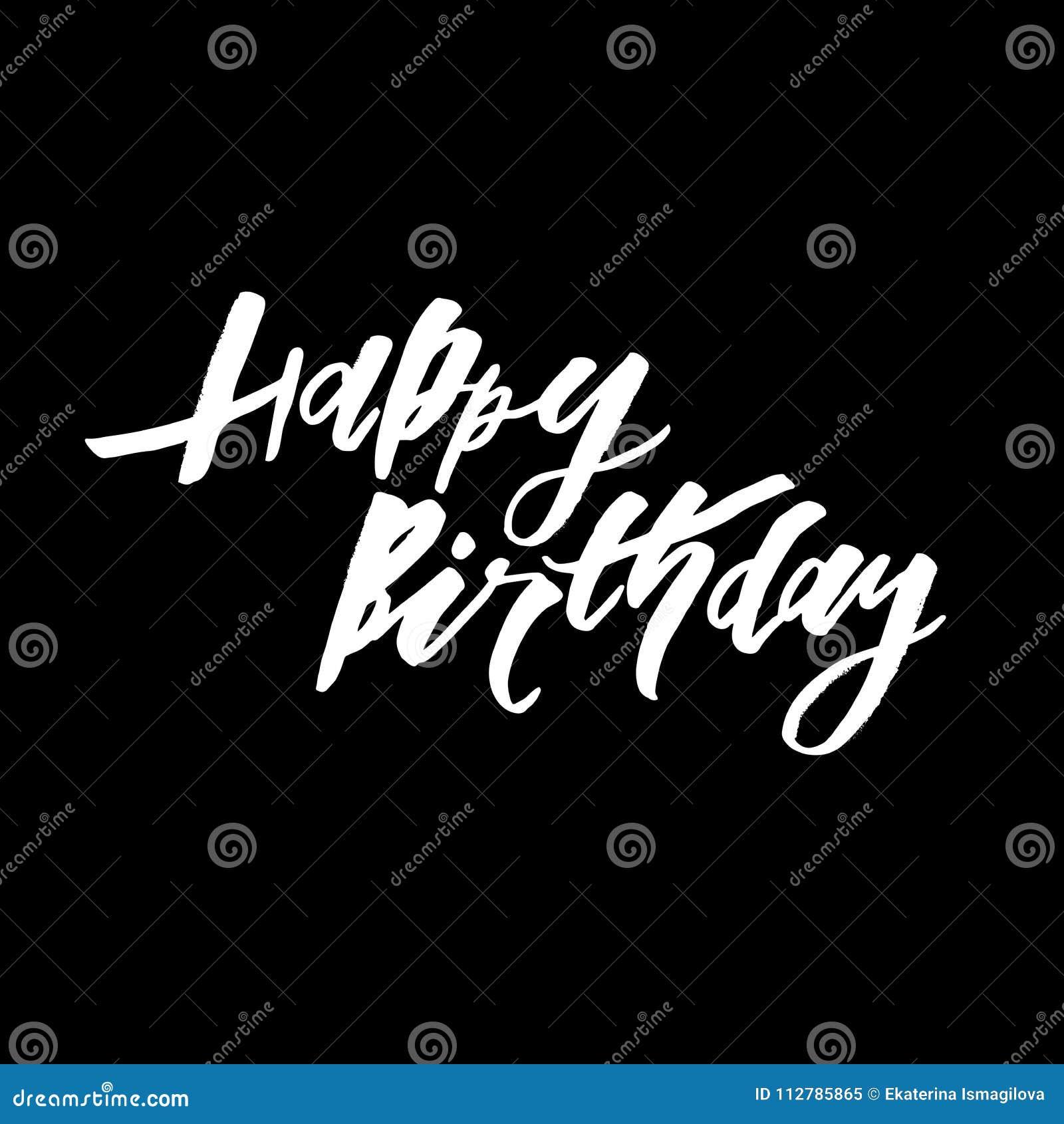 Gelukkig Verjaardagstekst het van letters voorzien kalligrafie zwart wit