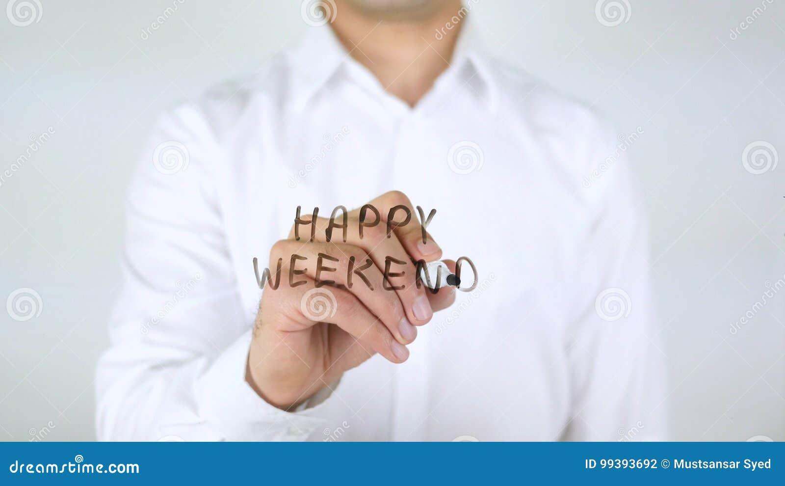 Gelukkig Weekend, Zakenman Writing op Glas