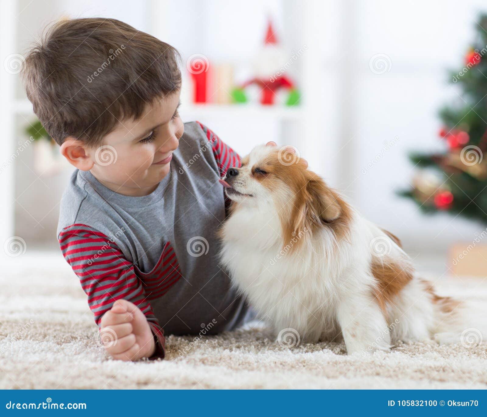 Gelukkig weinig jong geitjejongen en hond bij Kerstmis