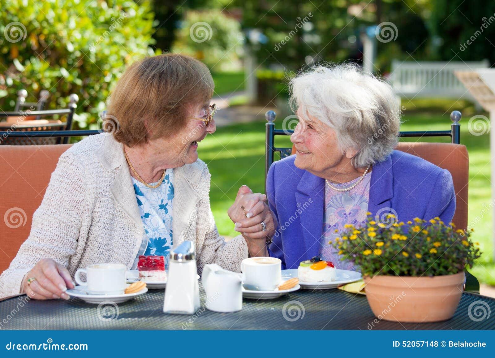 Gelukkige Bejaarden die bij de Tuinlijst babbelen