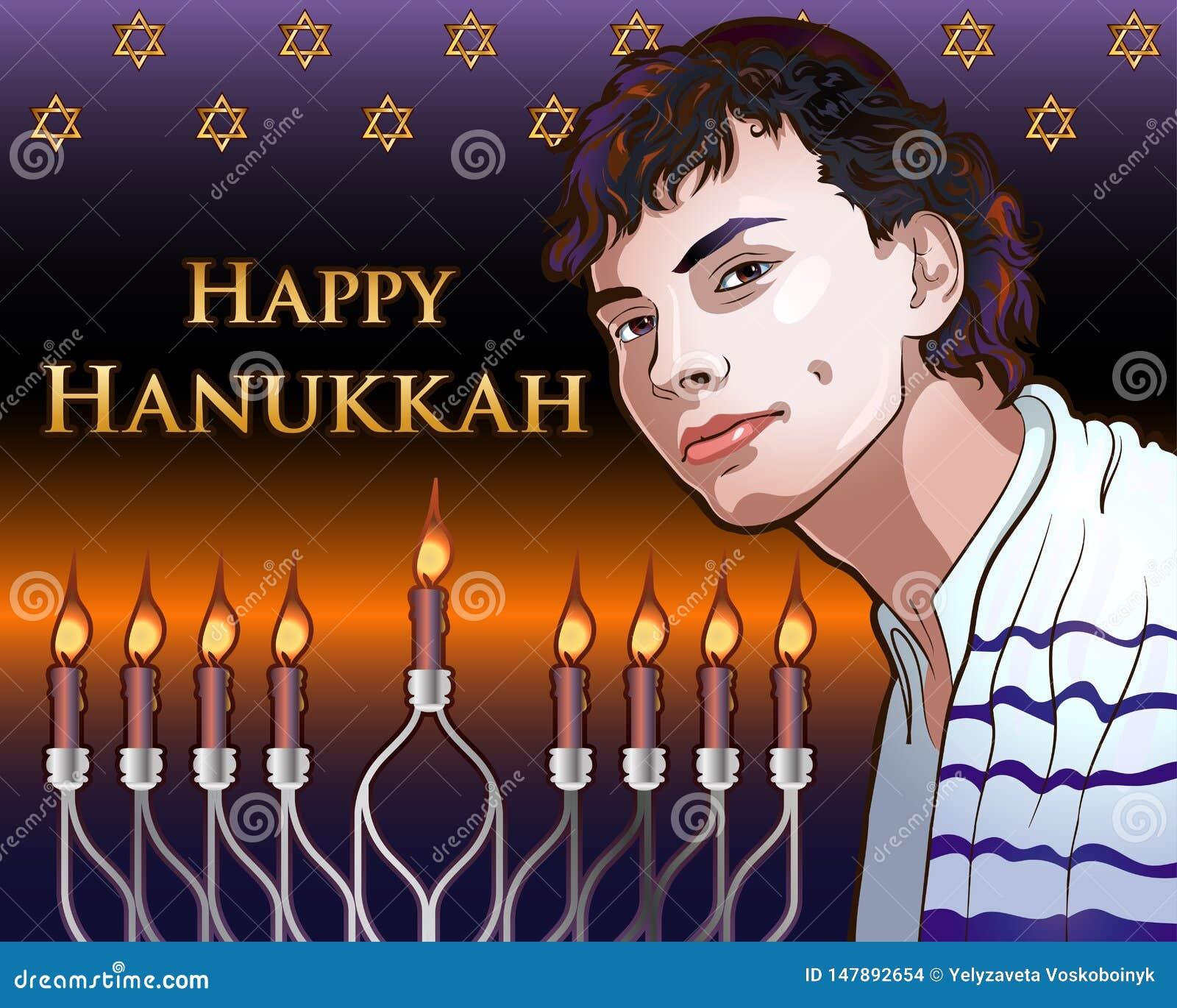 Gelukkige Chanoeka Glanzende Illustratie met Menorah, David Stars, Portret van een Jonge Jood