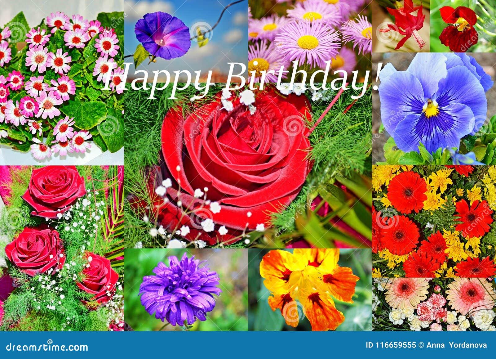 Verjaardag Bloemen Afbeelding.Gelukkige De Collageprentbriefkaar Van Verjaardagsbloemen