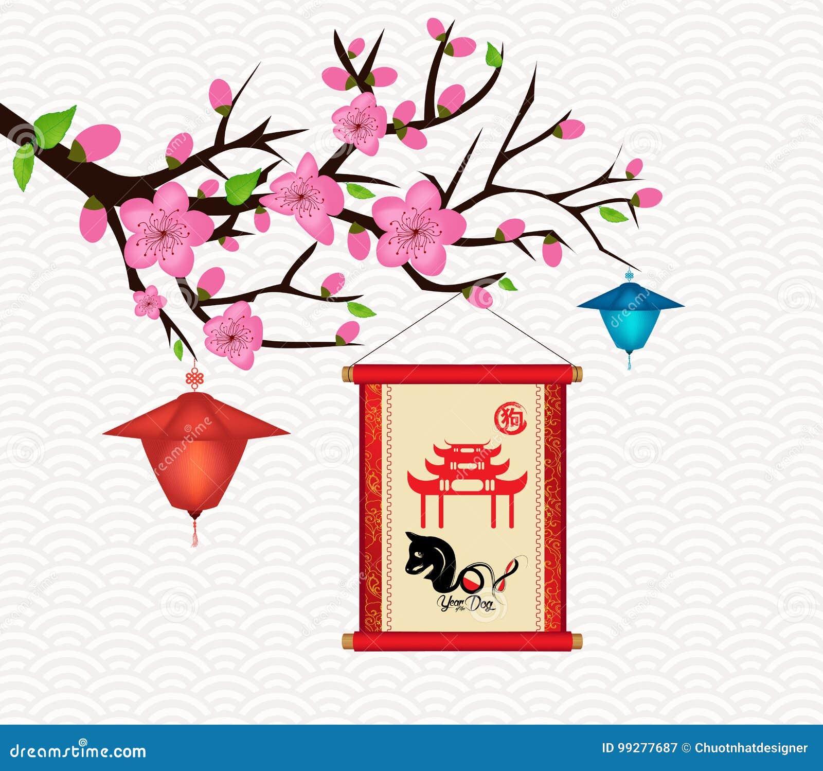 Gelukkige de groetkaart van de Nieuwjaar 2018 Bloesem Chinees Nieuwjaar van de Hond van de hondhiëroglief