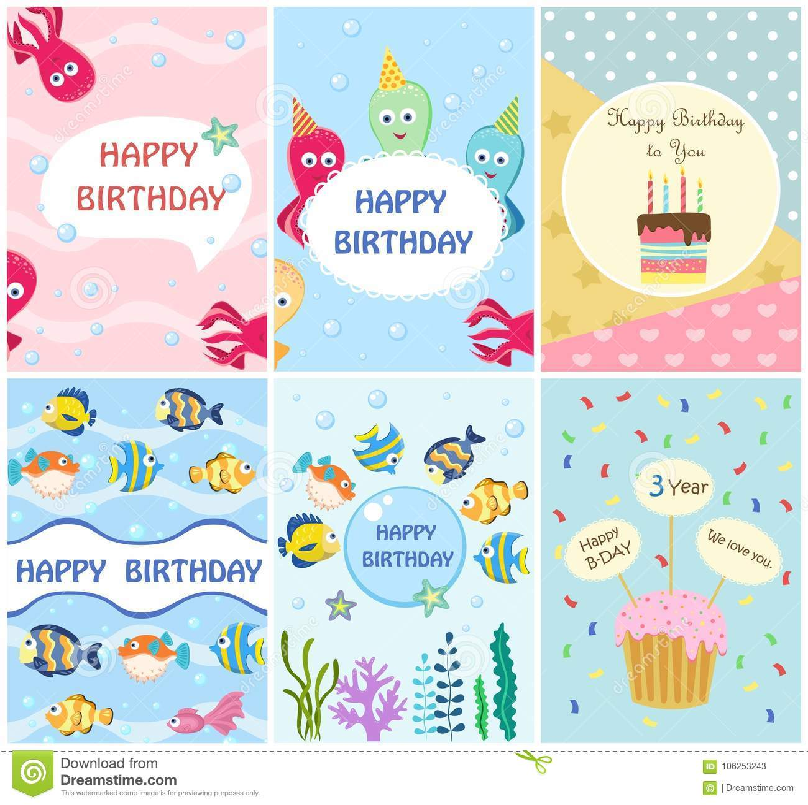 Gelukkige de kaartenmalplaatjes van de verjaardagsgroet en partijuitnodigingen, reeks prentbriefkaaren