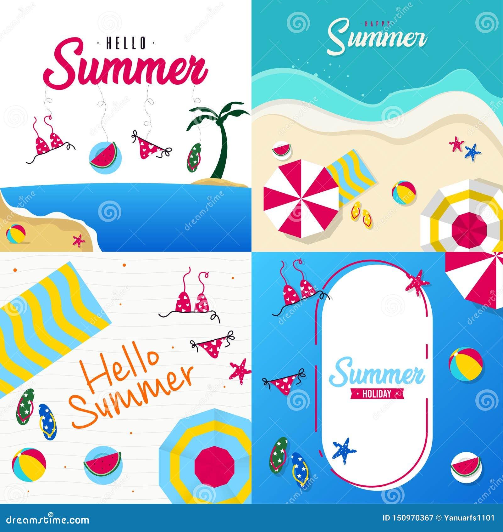 Gelukkige de zomervakantie in de strandillustratie Tropische vakantie in de zomerillustratie