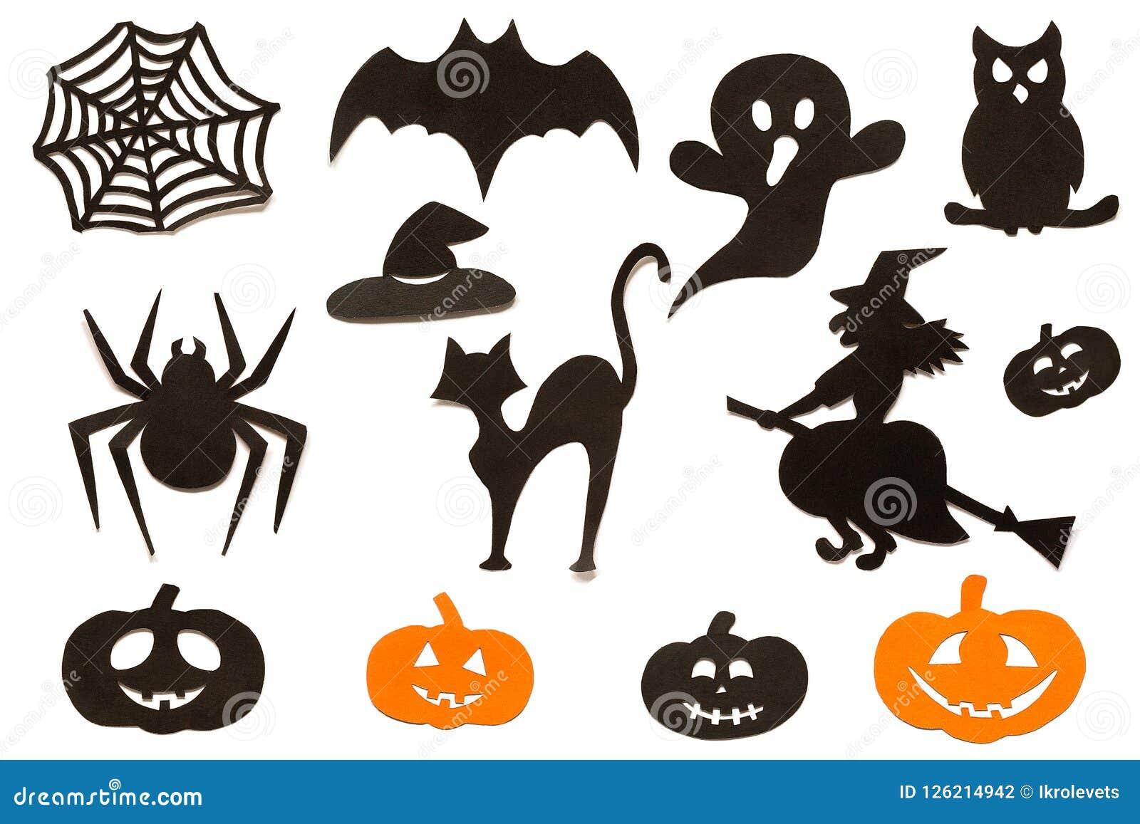 Gelukkige die Halloween-Reekssilhouetten van zwart oranje die document worden verwijderd op witte achtergrond wordt geïsoleerd
