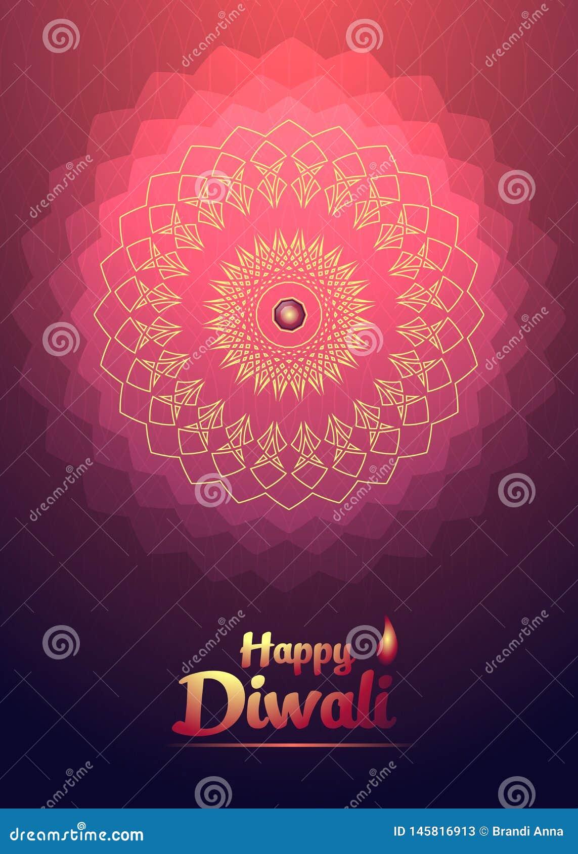 Gelukkige Diwali-festival achtergrondrood lichtbloem