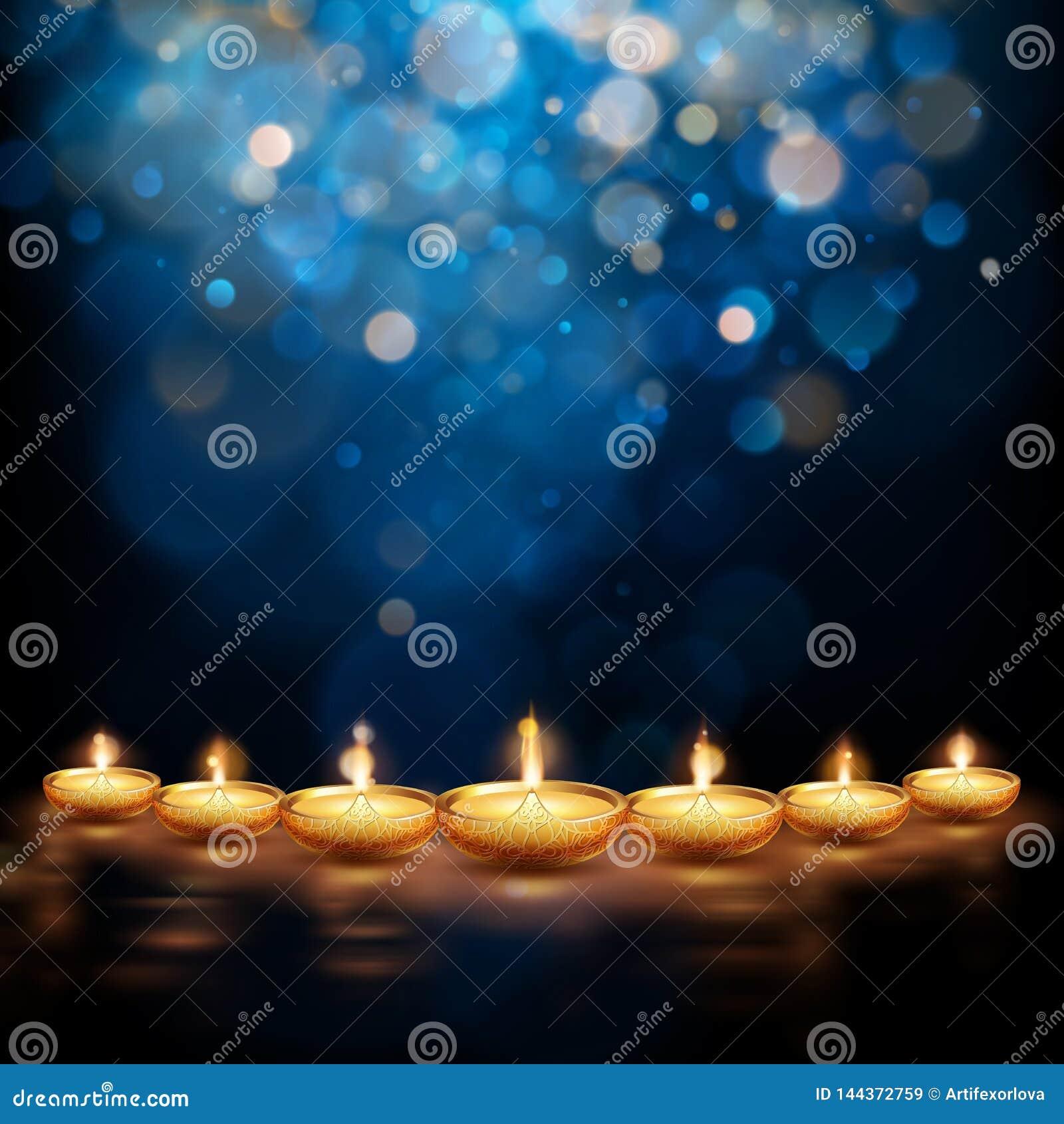 Gelukkige Diwali-illustratie van het branden diya De achtergrond van de vakantie Eps 10