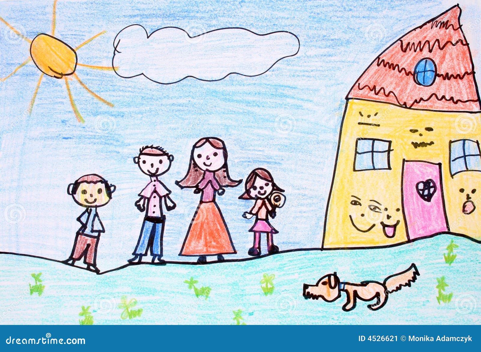 Gelukkige familie - kleurpotloodtekening