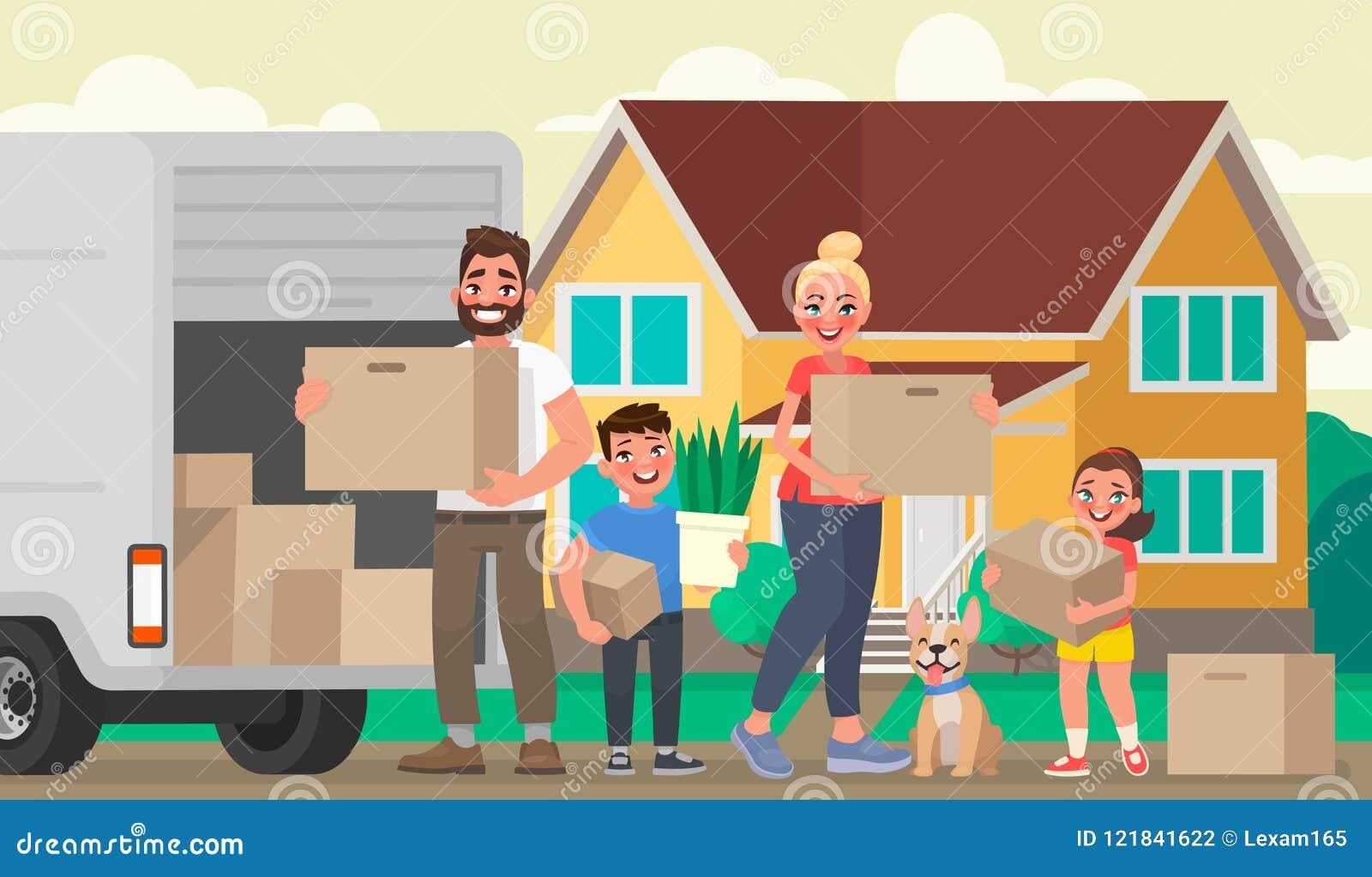 Een Nieuw Huis : Gelukkige familiebewegingen aan een nieuw huis vader moeder en