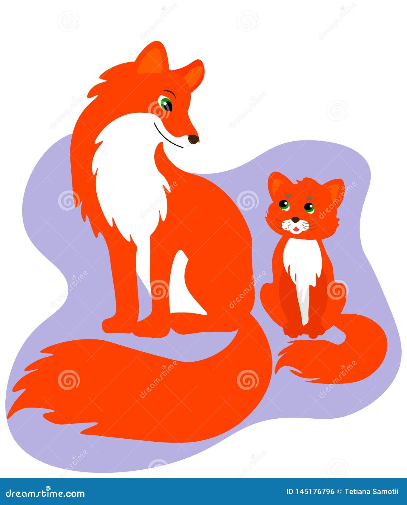 Gelukkige familiekaart Leuke vossenfamilie