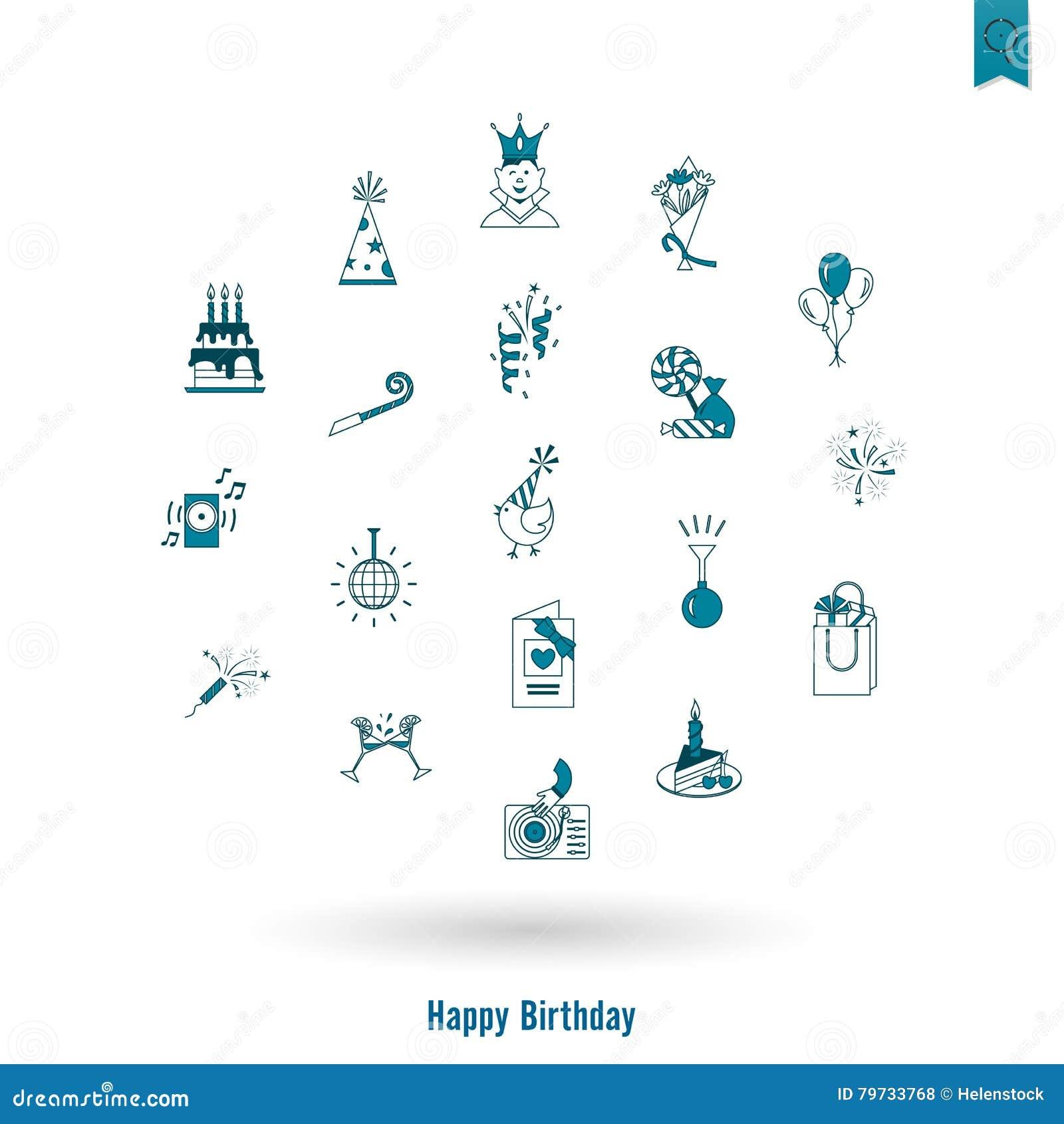 Gelukkige geplaatste Verjaardagspictogrammen