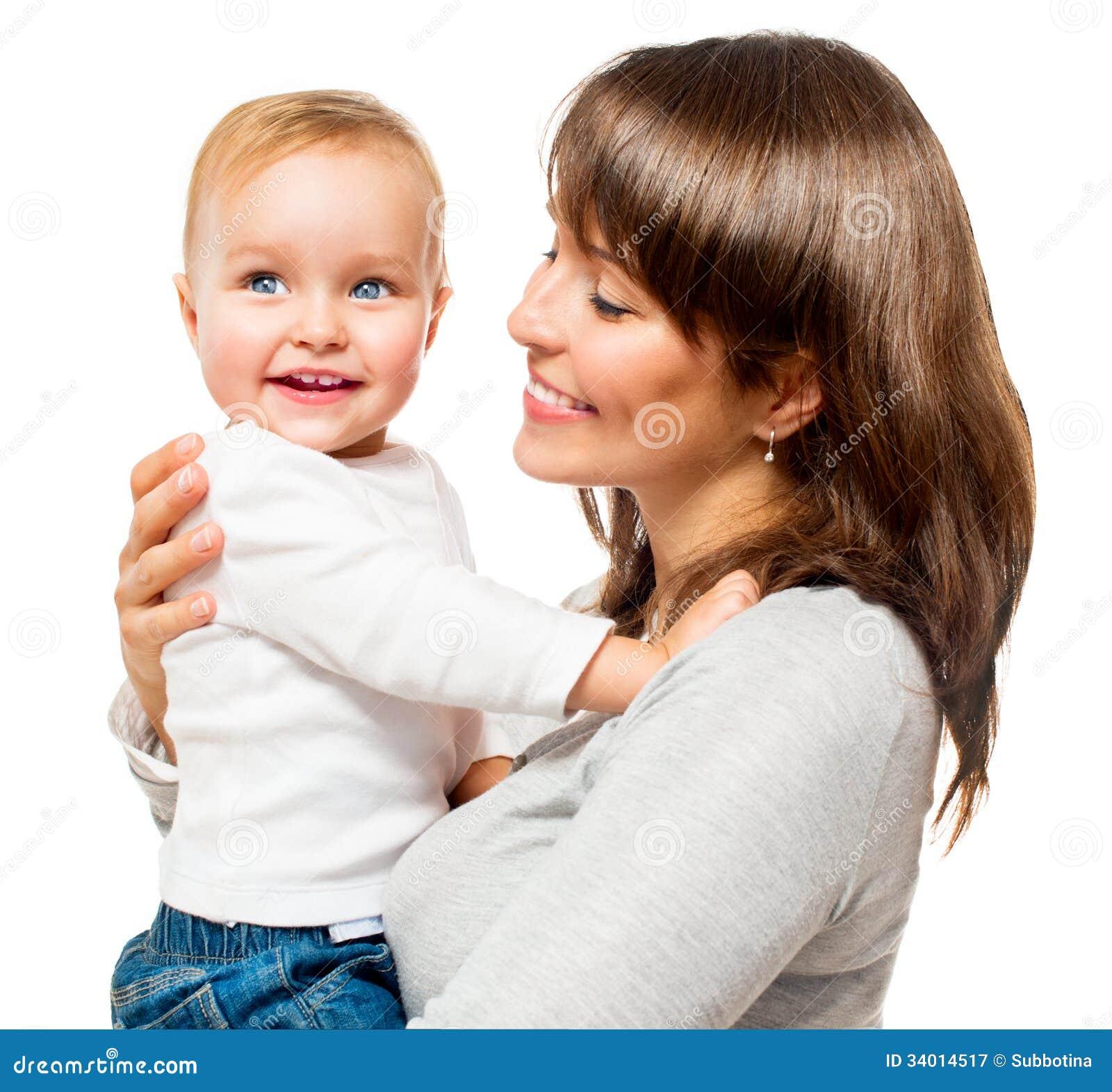 Gelukkige Glimlachende Moeder en Baby