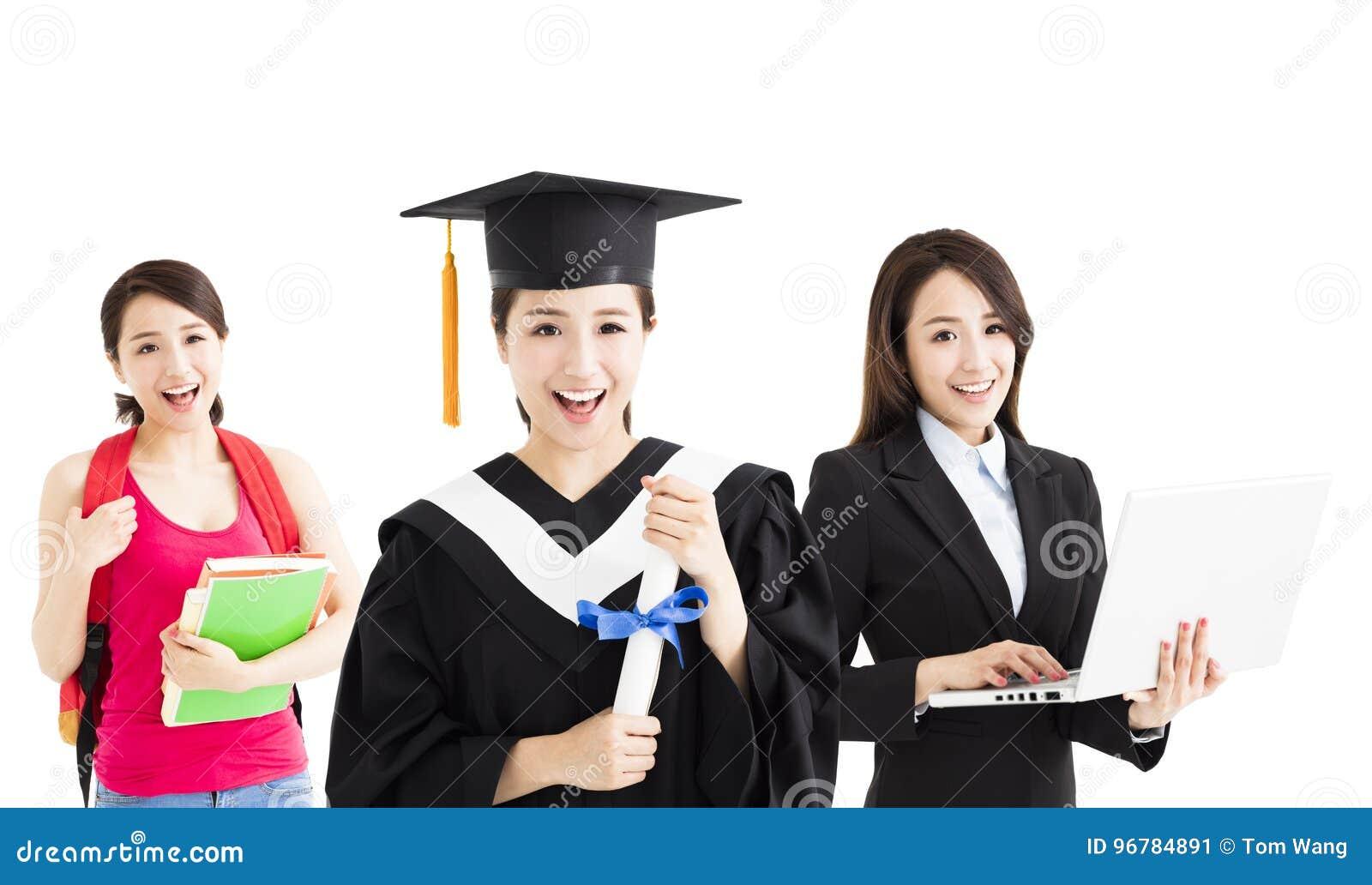 Gelukkige graduatie tussen student en bedrijfsvrouw