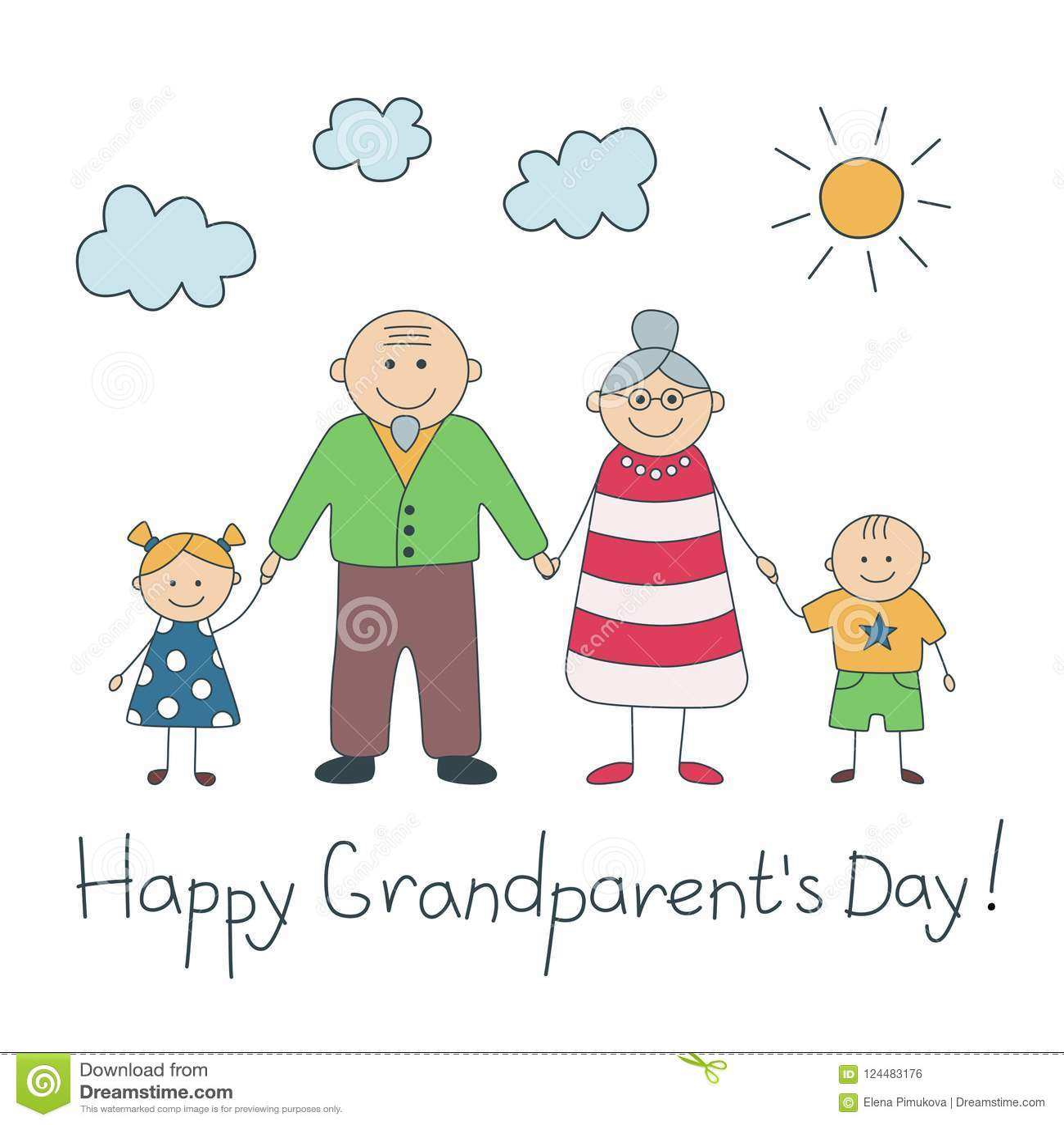 Gelukkige grandparent'sdag Kleurrijke kaart met tekst Grootvader en Grootmoeder Gelukkige opa en oma Vector