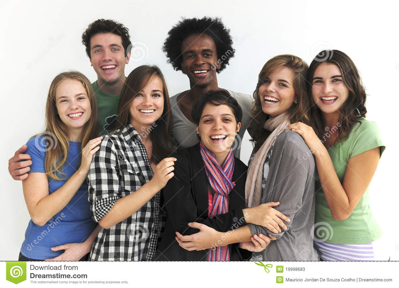 Gelukkige groep jonge studenten