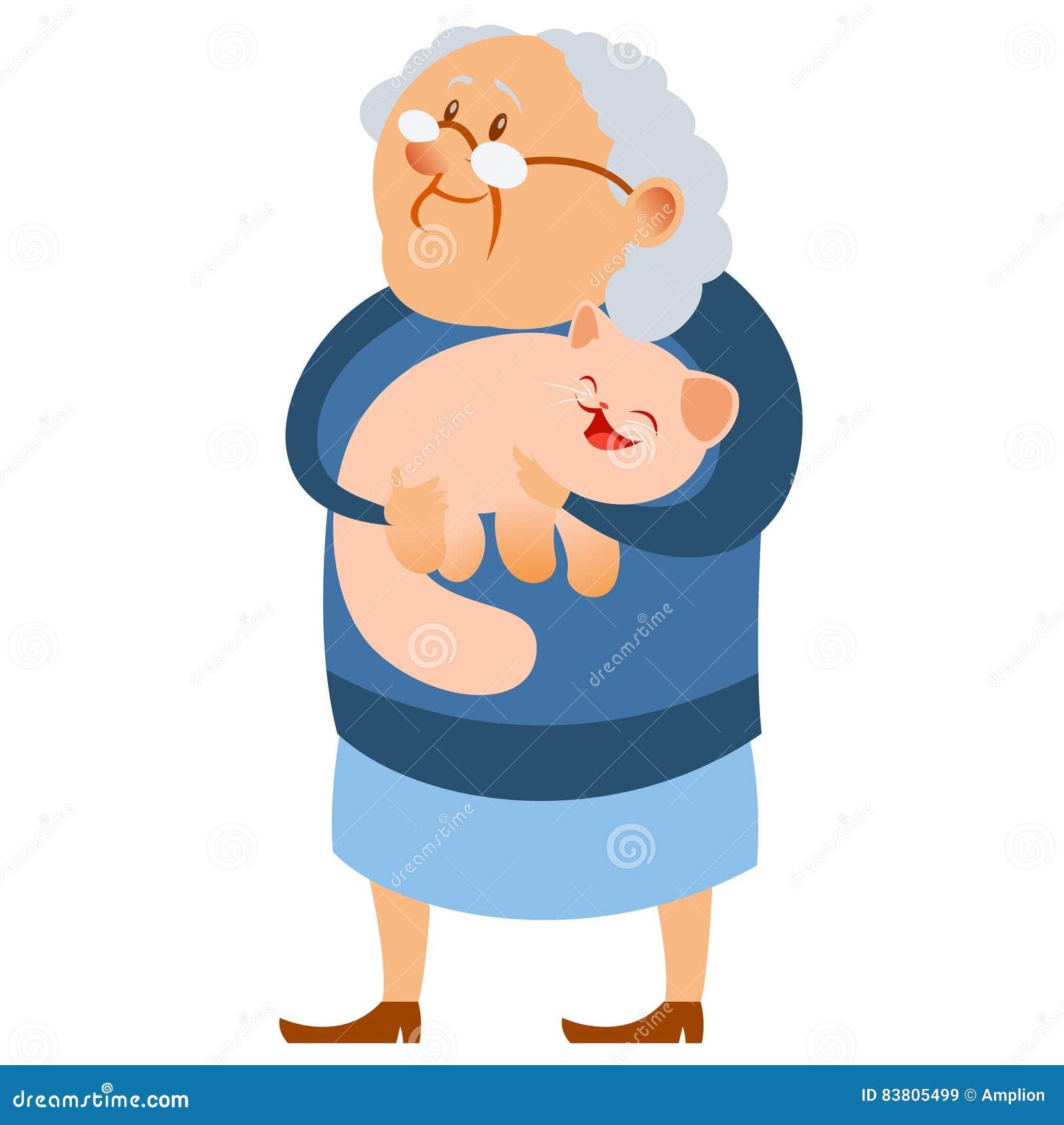 Gelukkige grootmoeder en haar kat