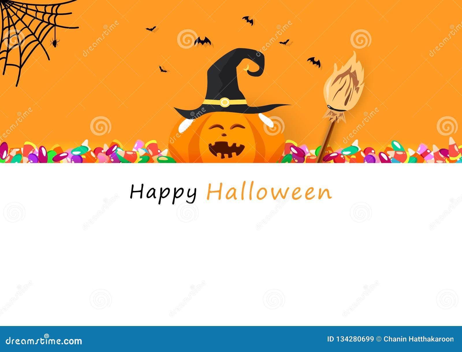 Halloween Gebruiken.Gelukkige Halloween Uitnodigingskaart Suikergoed Bezem