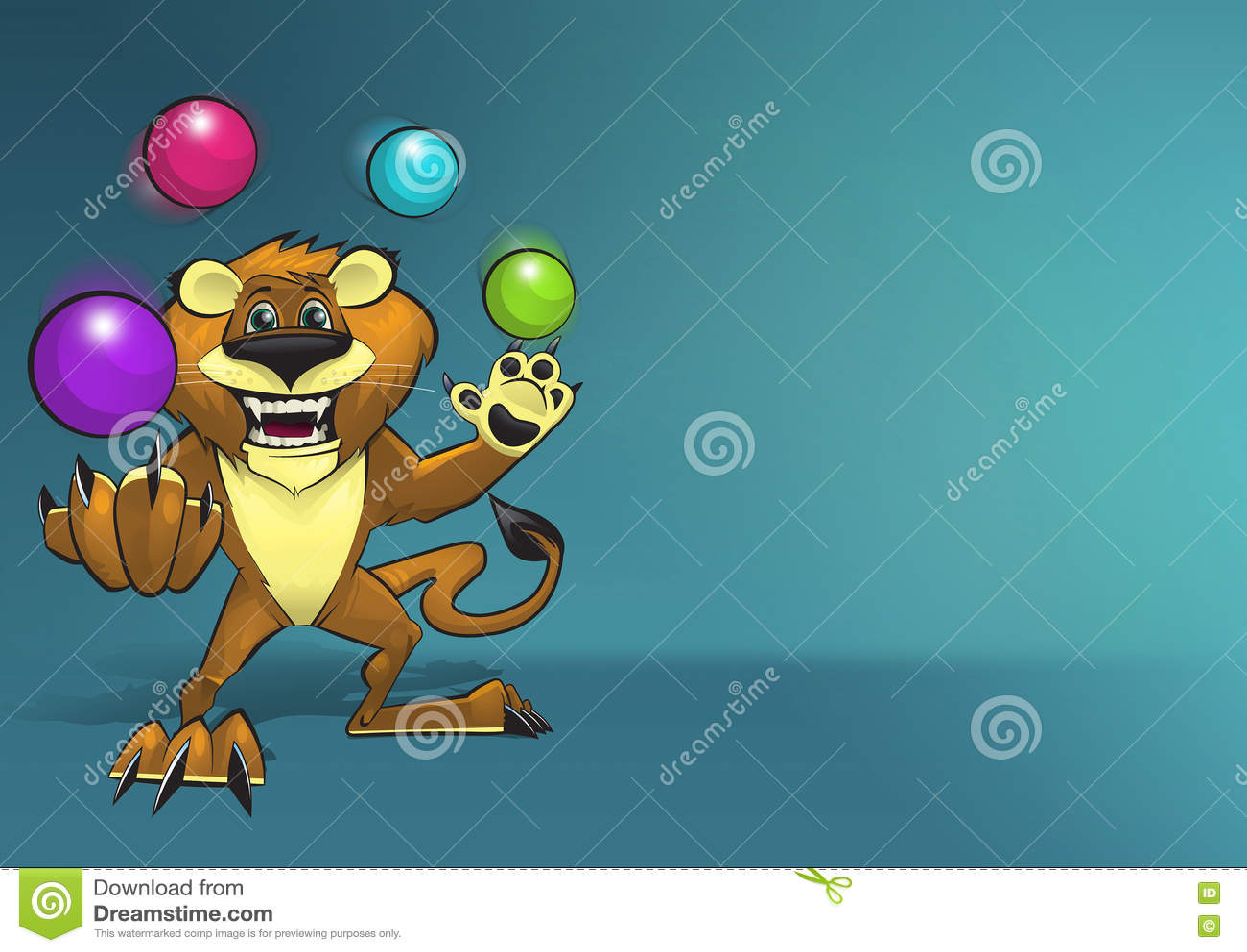 Gelukkige het Glimlachen Lion Character Juggling Four Colorful Ballen