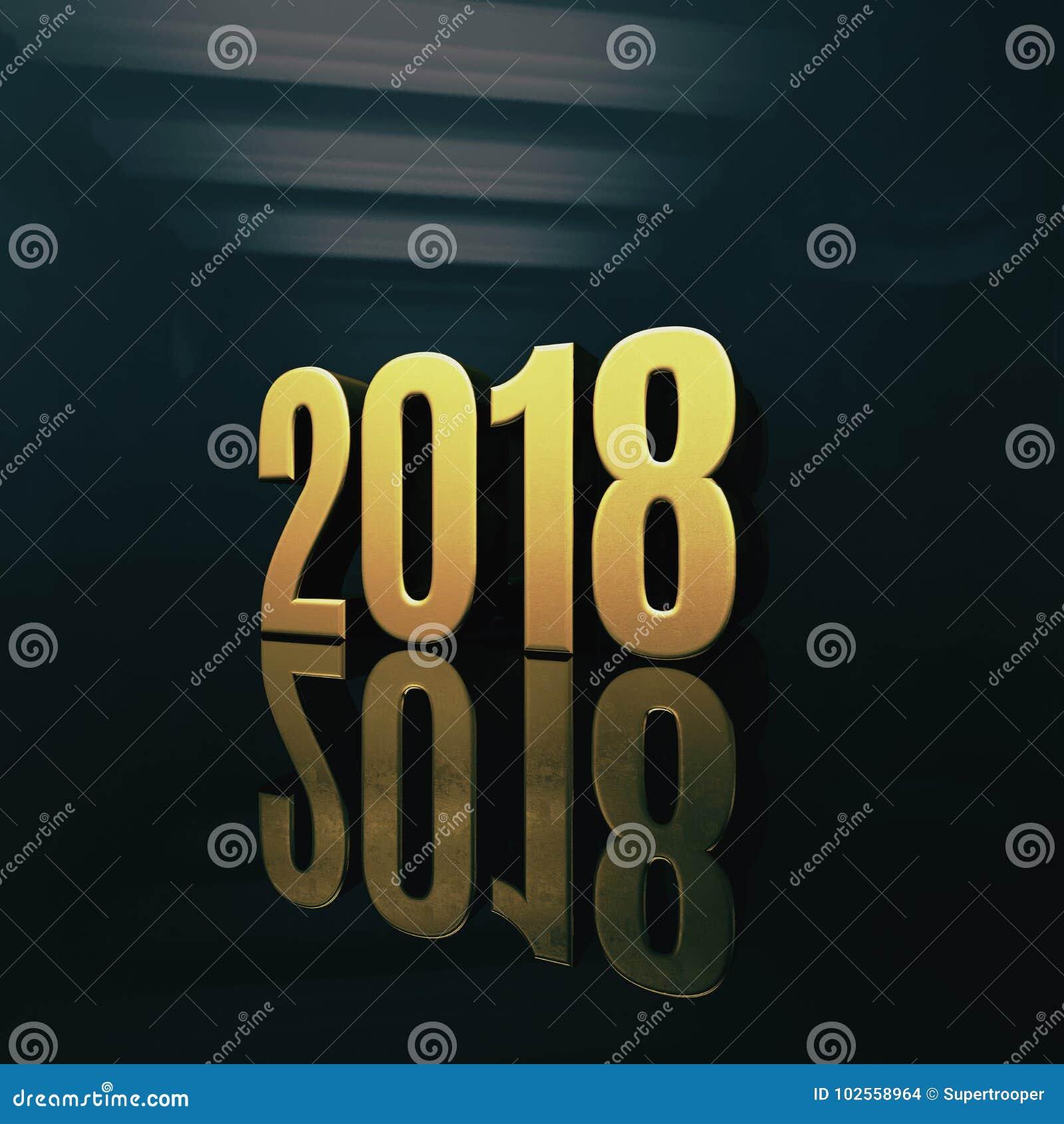 Gelukkige het ontwerp 3d illustratie van de nieuwjaar 2018 for Ontwerp 3d