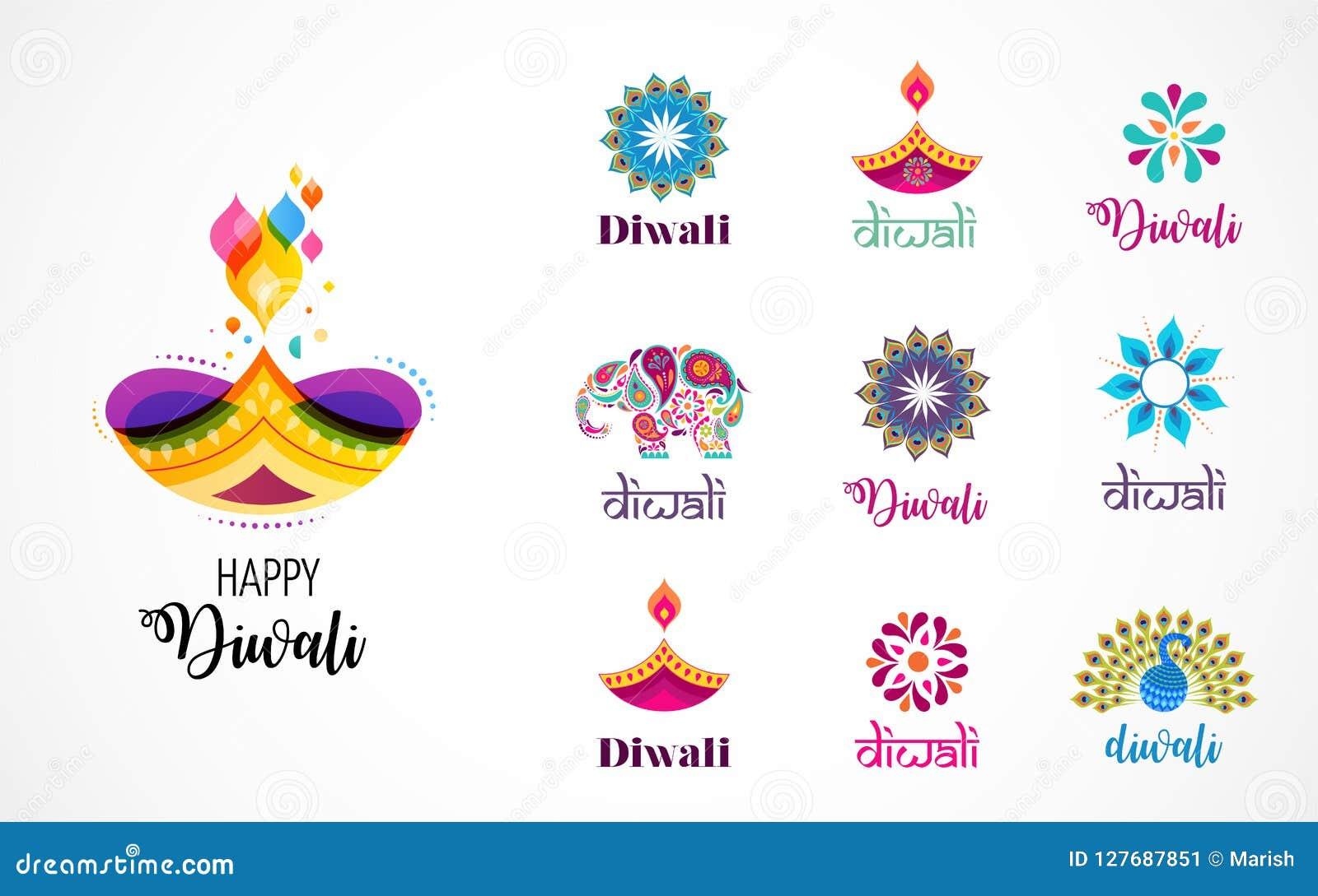Gelukkige Hindoese het festivalpictogrammen van Diwali, elementen, embleemreeks Brandende diyaillustratie, licht festival van Ind