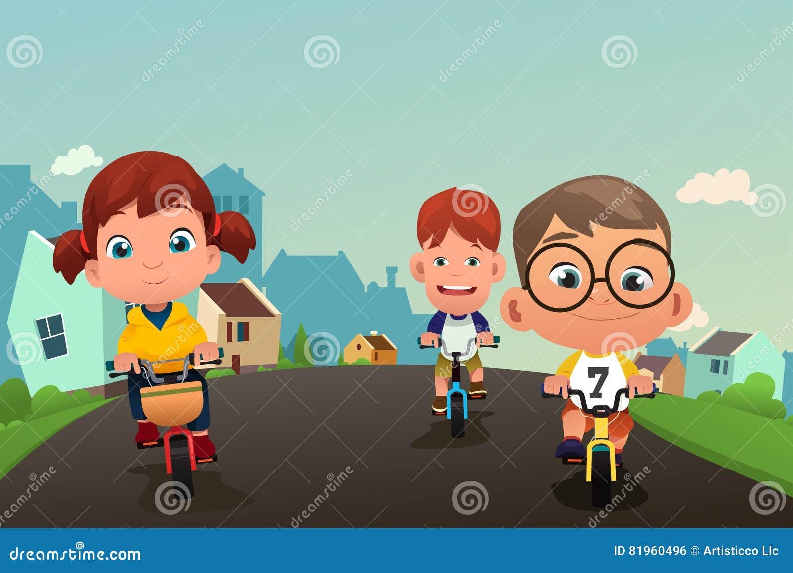 Gelukkige Jonge geitjes Biking op de Straat