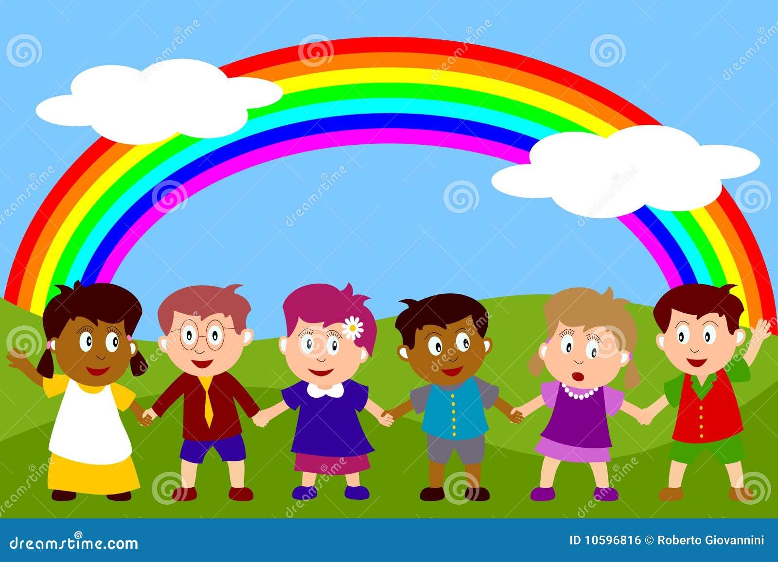 Gelukkige Jonge geitjes met Regenboog
