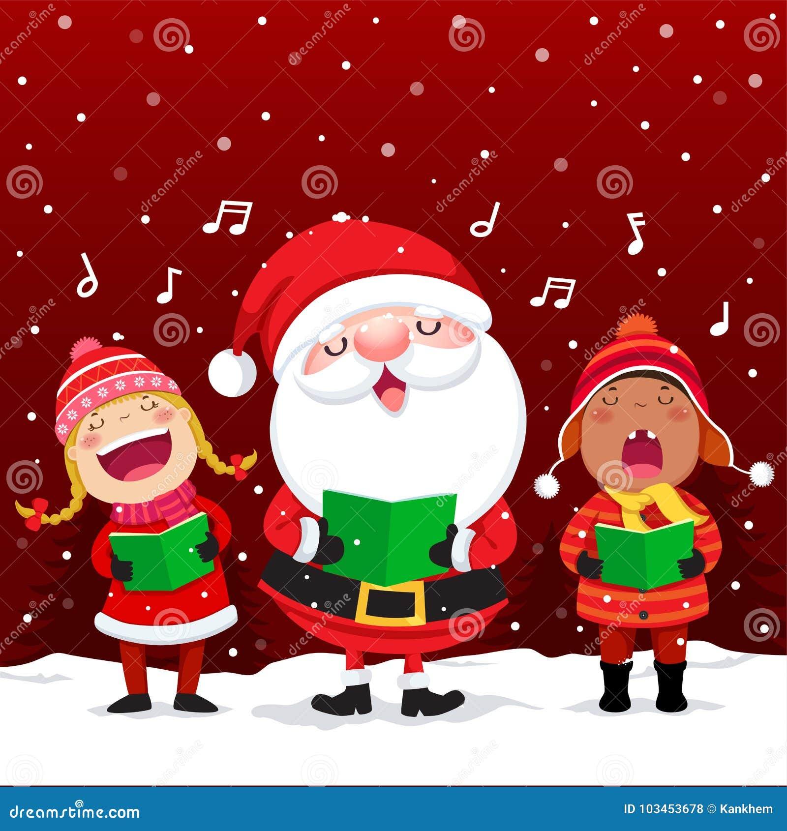 Gelukkige jonge geitjes met Santa Claus-het zingen Kerstmishymnes