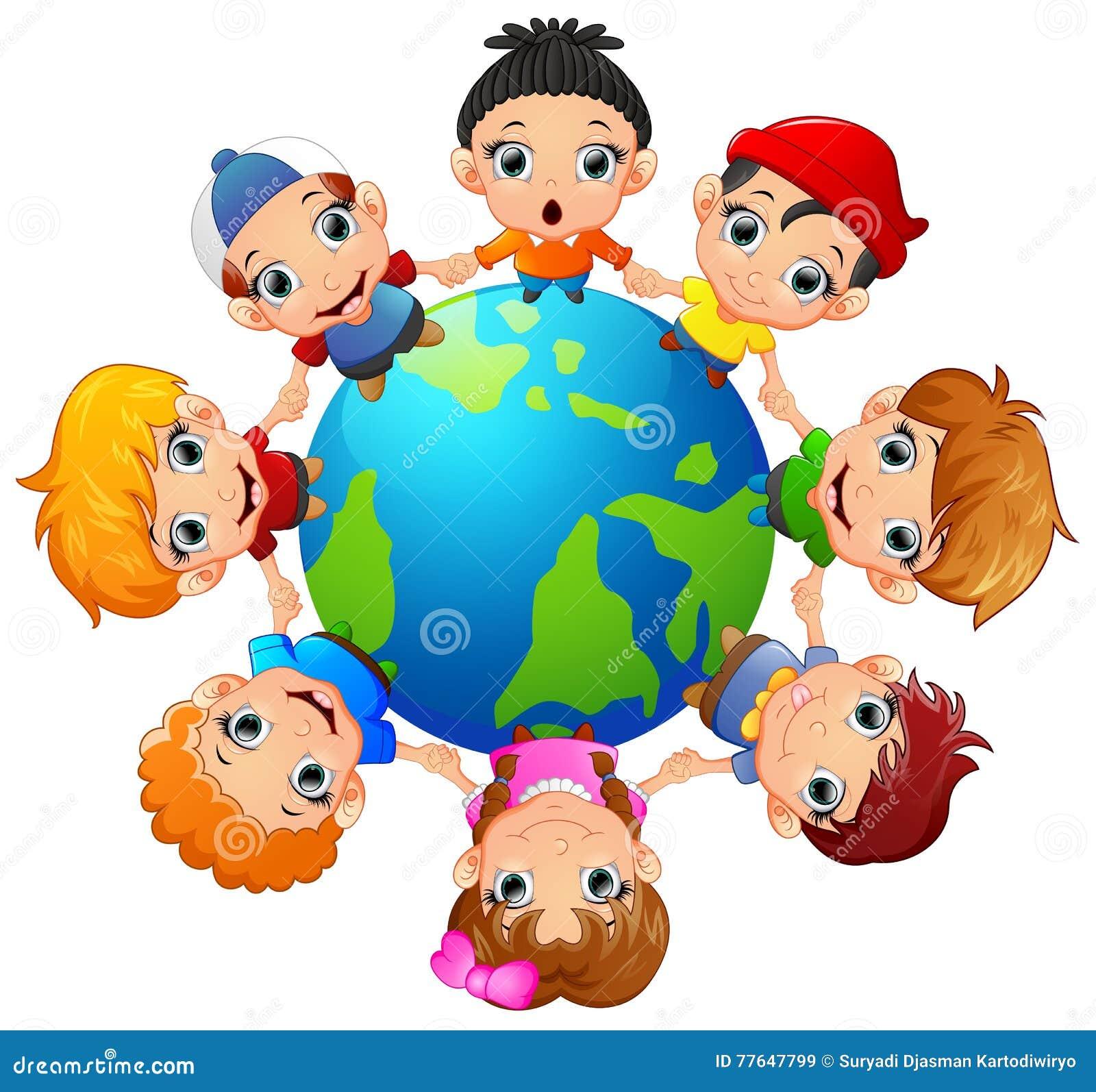 Gelukkige kinderen die hand houden op rond de aarde