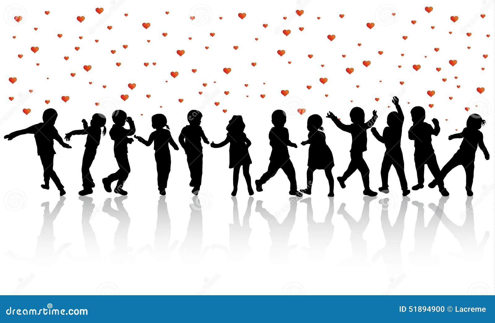 Gelukkige kinderensilhouetten die samen dansen stock foto for Konzentrationsschw che kind