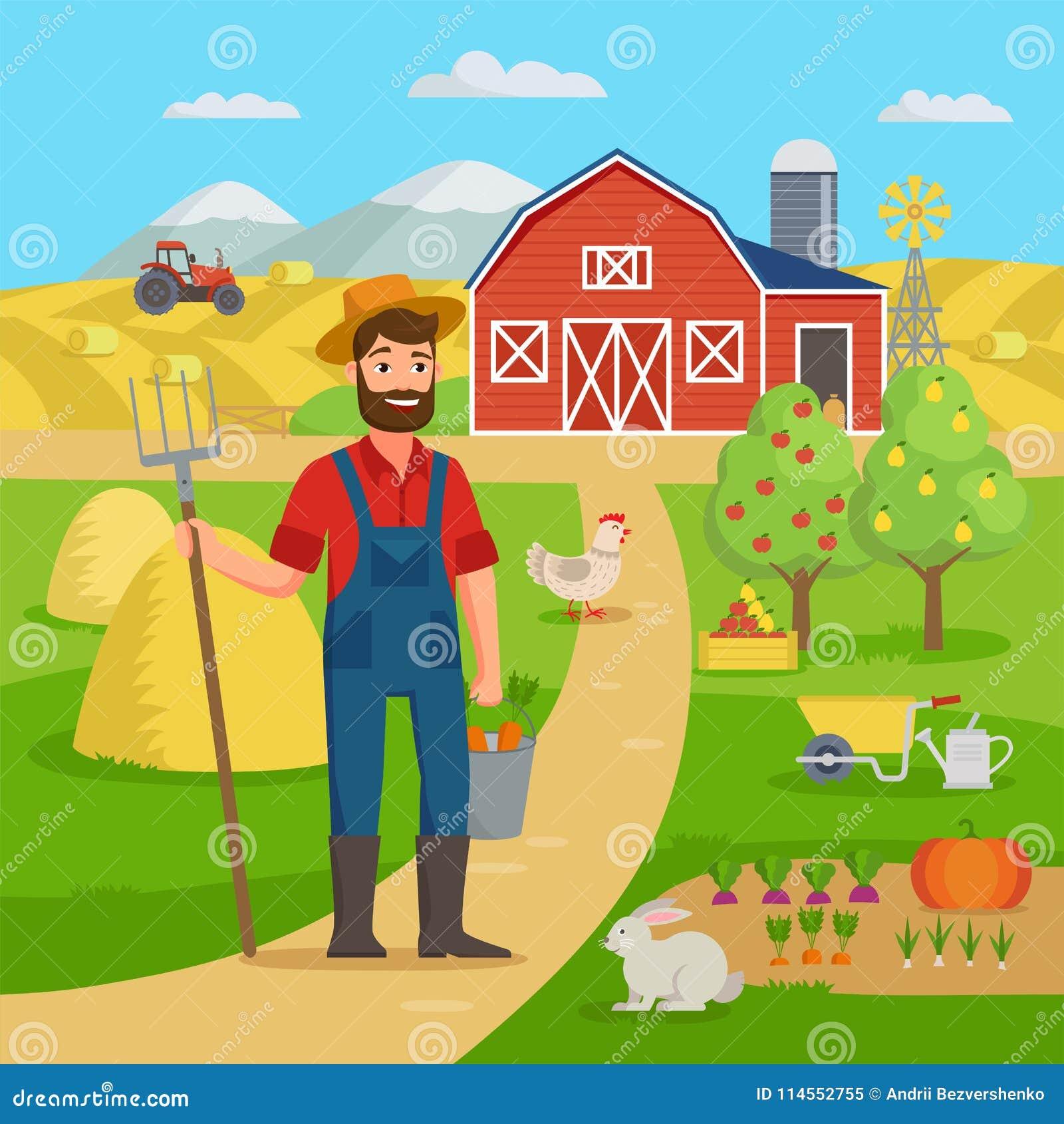 Gelukkige landbouwer met landbouwlandschap en tuin die zich voor de landbouwbedrijfschuur bevinden en gebieden met gewas De landb