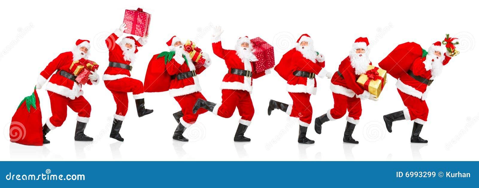 Gelukkige lopende Kerstmis Santas