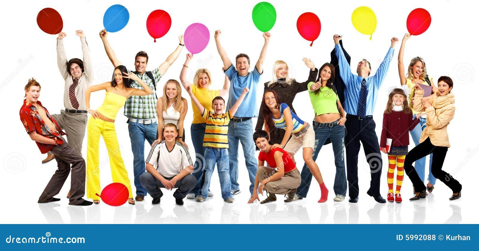 Gelukkige mensen met ballen