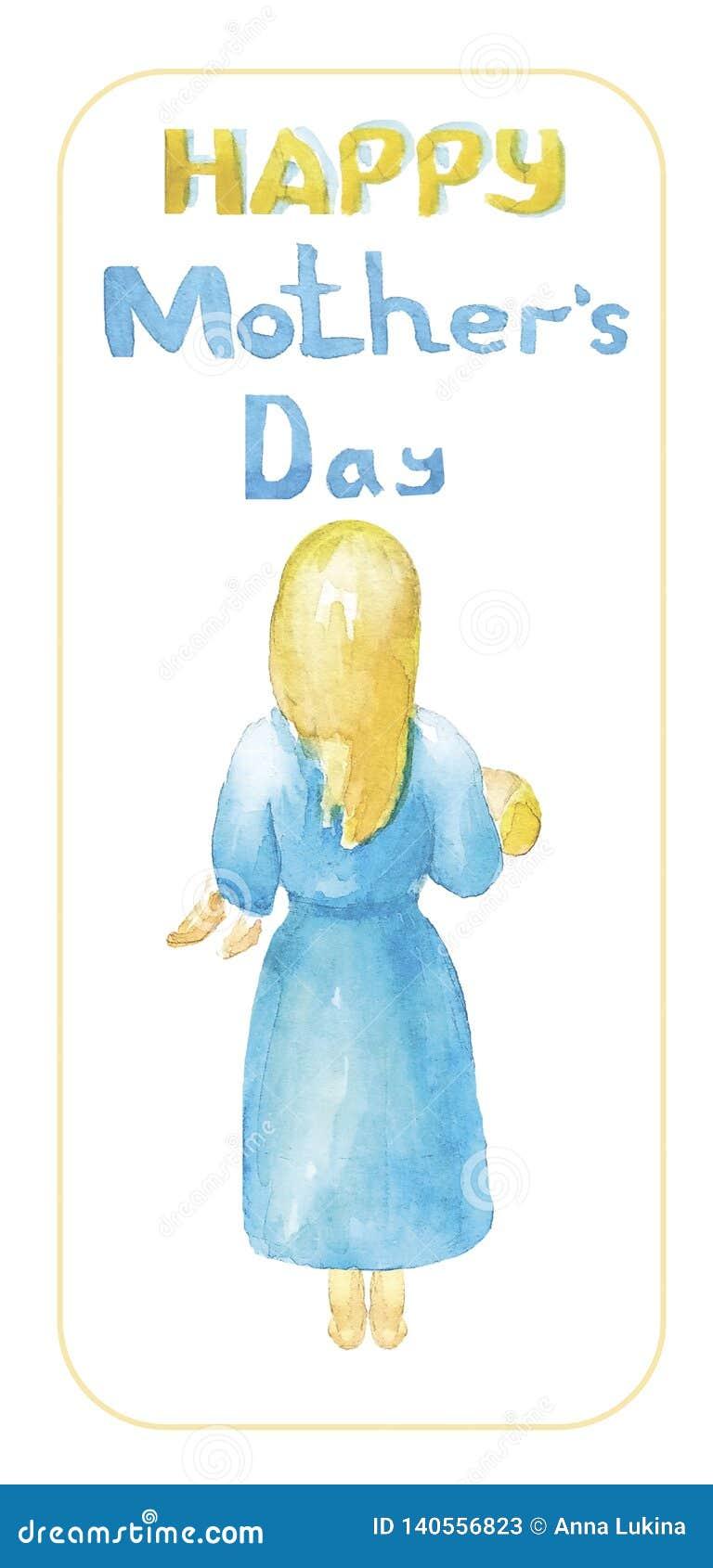 Gelukkige moeder`s dag De moeder met blond haar in een blauwe blootvoetse kleding, houdt, koestert haar kind,