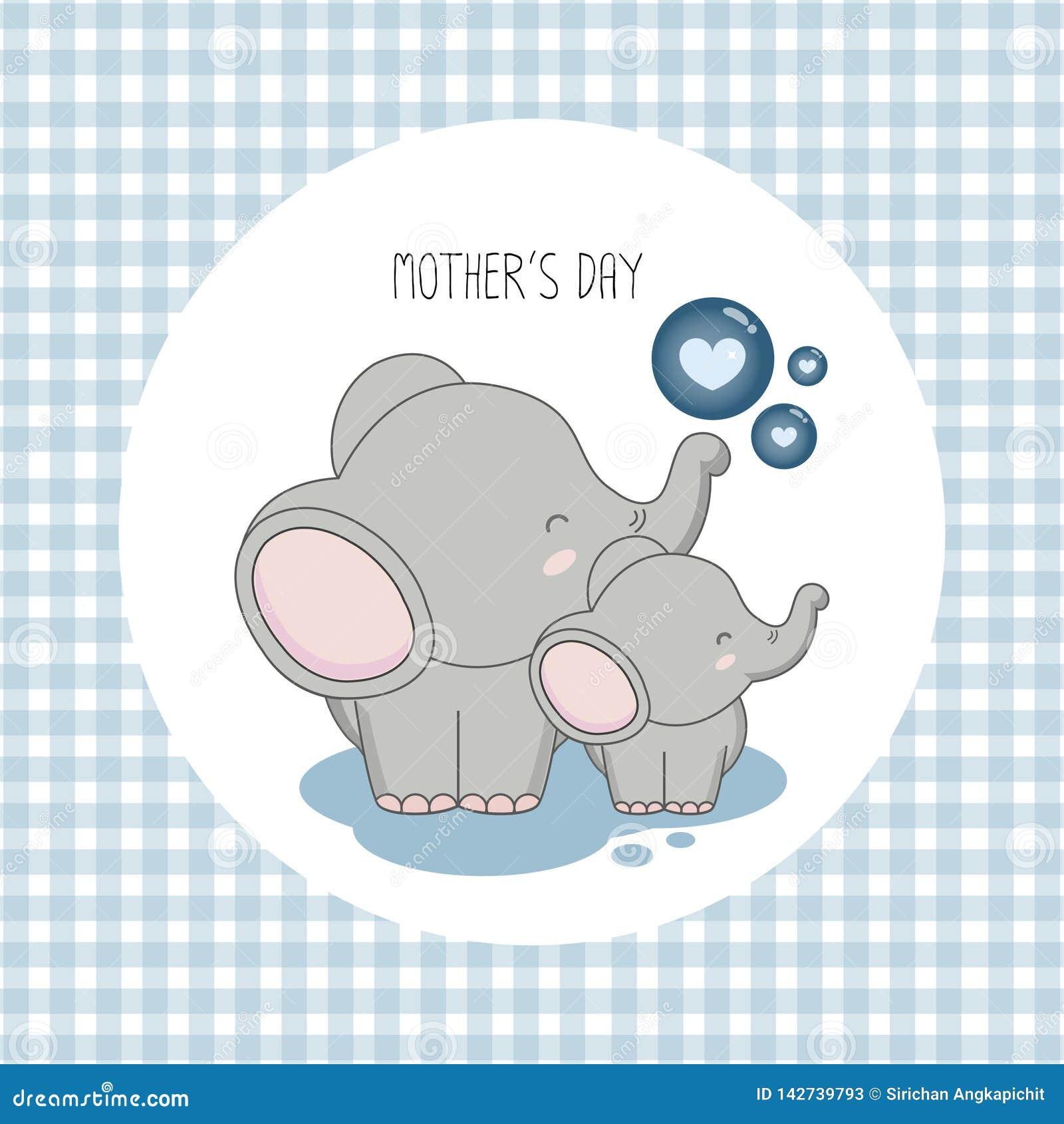 Gelukkige moeder`s dag Moederolifant met kind