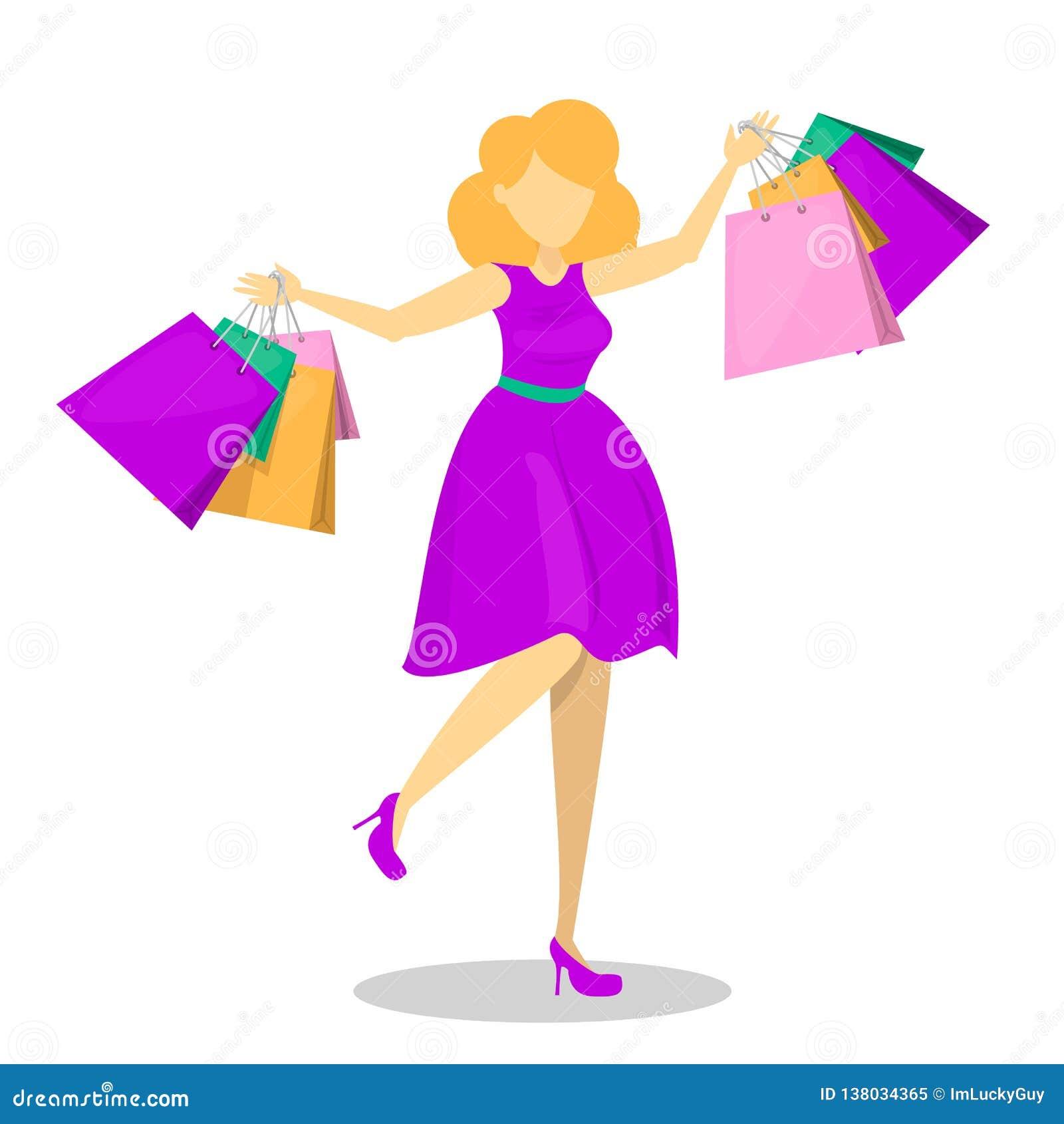 Gelukkige mooie vrouw in purpere kleding met het winkelen