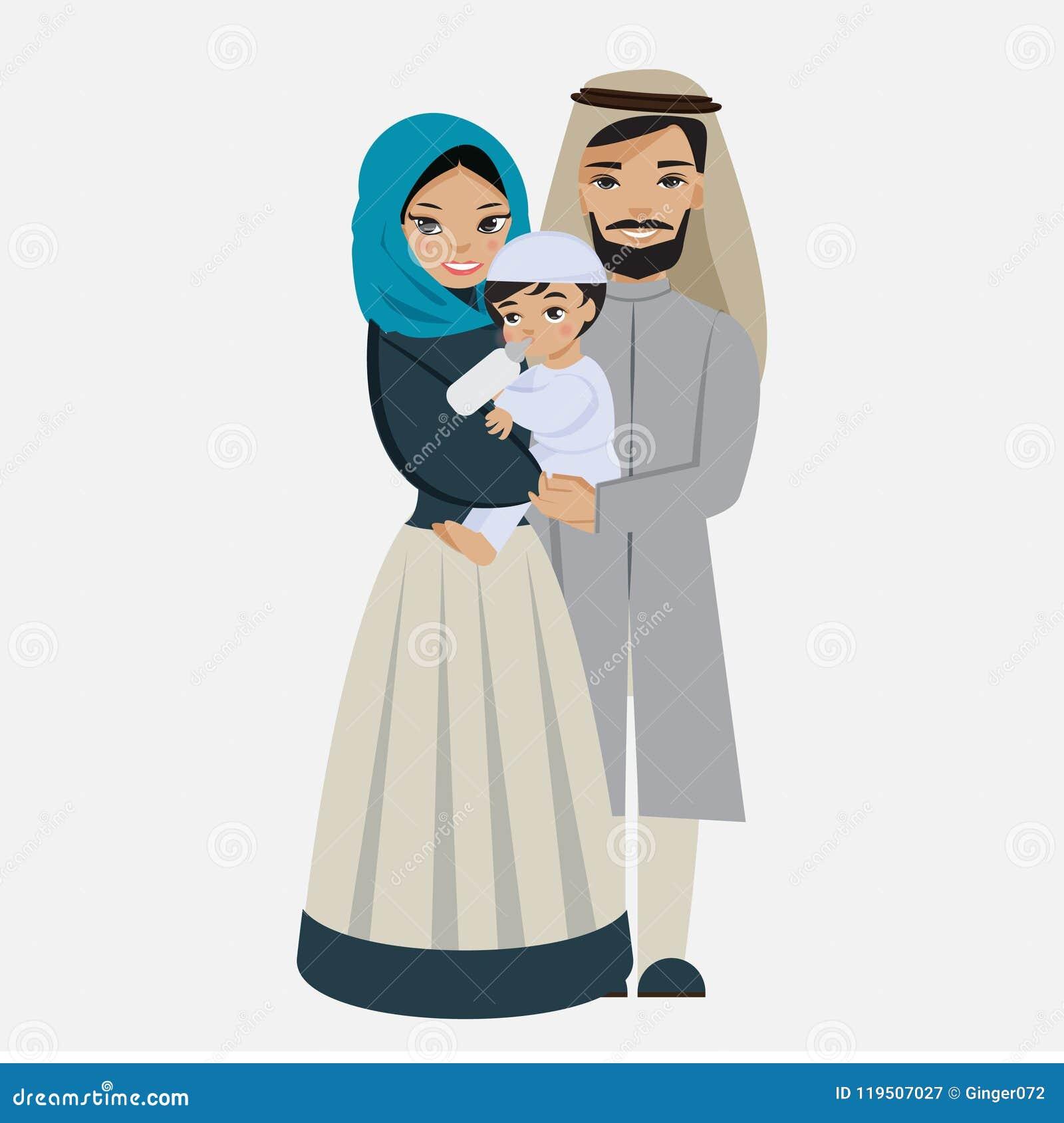 Gelukkige moslimfamilie met jong geitje
