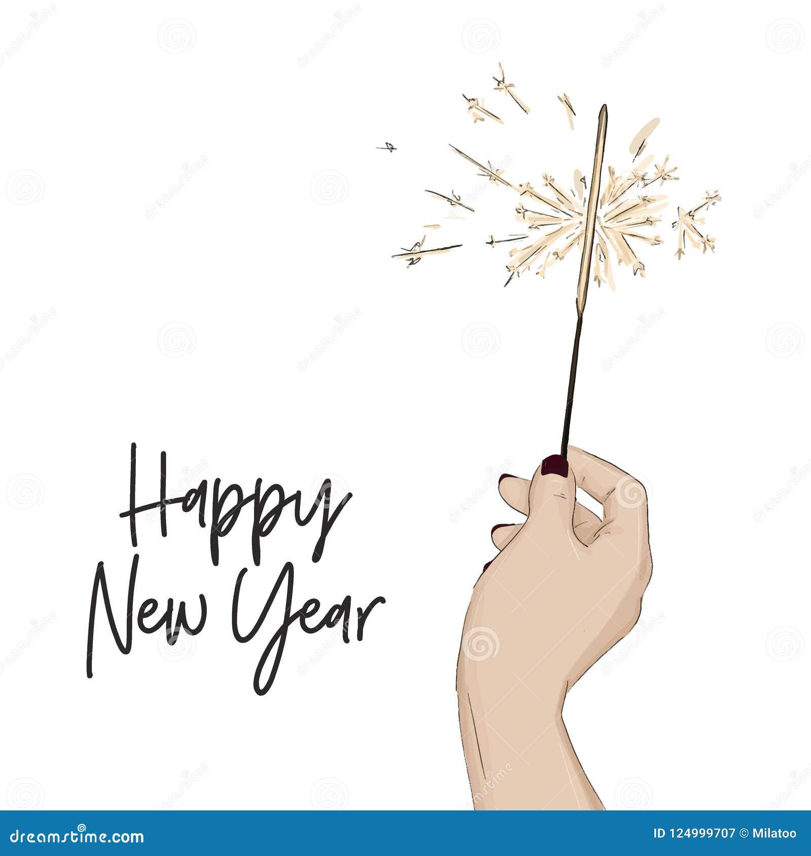 Gelukkige nieuwe jaarschets met het licht van Bengalen van de handholding Glans het heldere symbool van de de wintervakantie De m