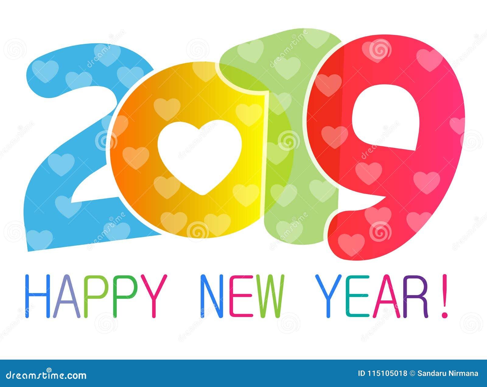 Gelukkige Nieuwjaar 2019 kaart en het ontwerp van de groettekst met harten voor minnaars