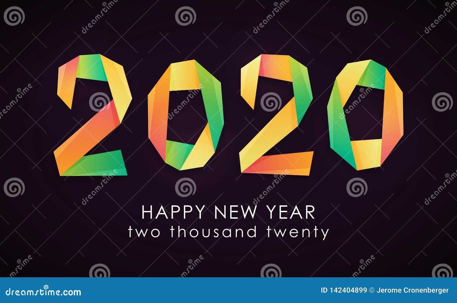 Gelukkige Nieuwjaar 2020 kleurrijke kaart