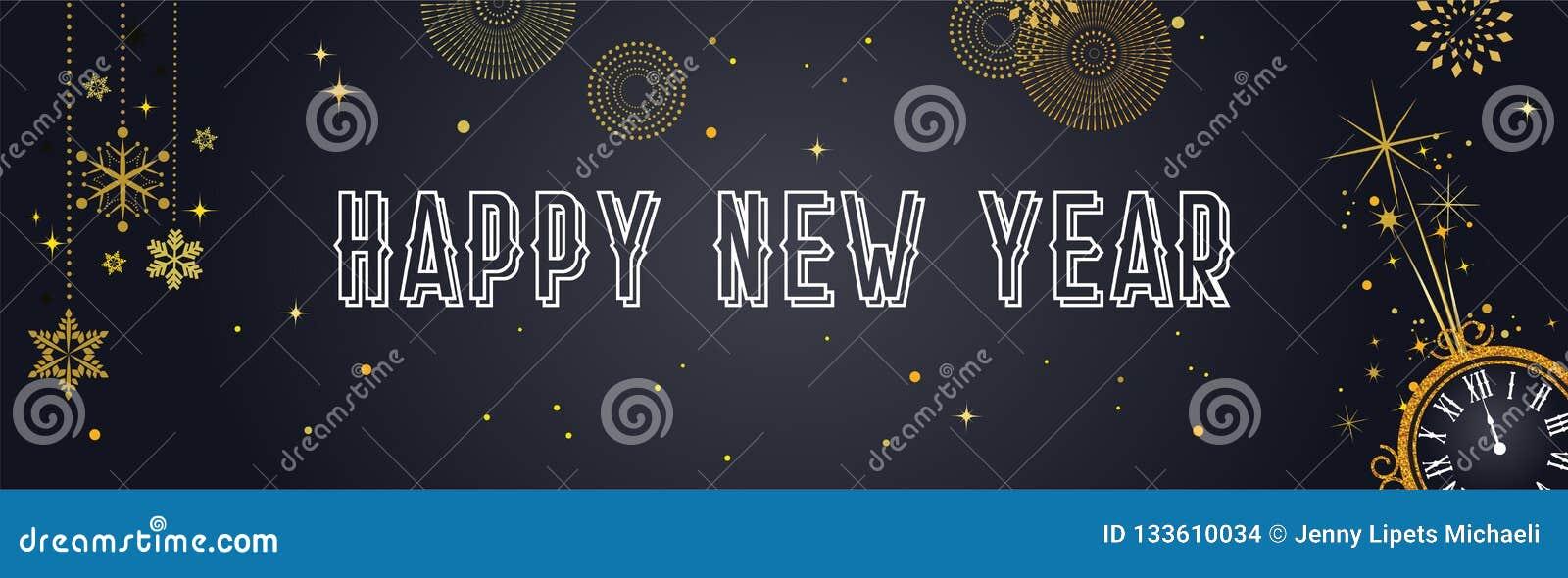 Gelukkige Nieuwjaarachtergrond met gouden vuurwerk Gouden en zwarte kaart en banner, feestelijke uitnodiging, kalenderaffiche of