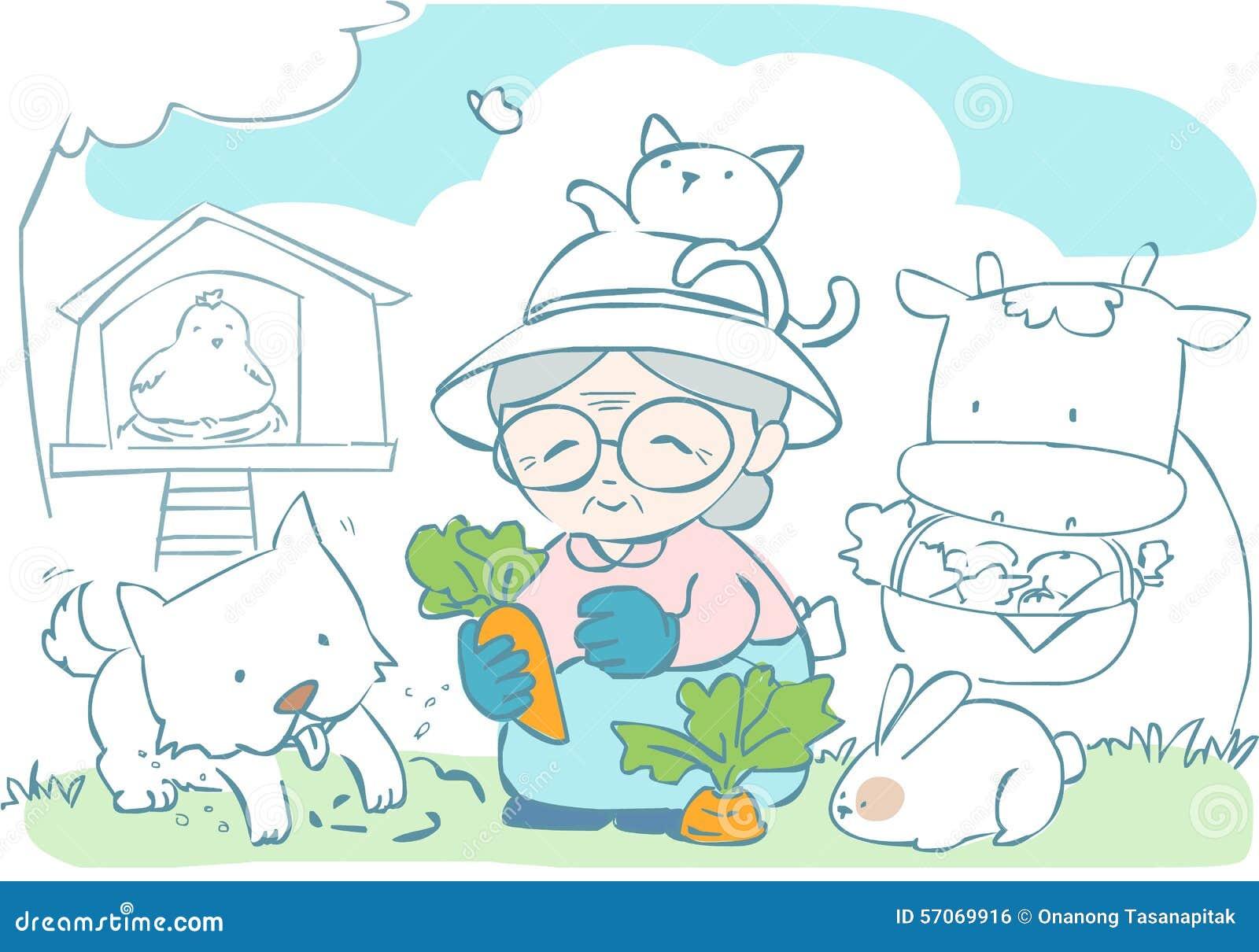 Gelukkige oma die met haar huisdier tuinieren