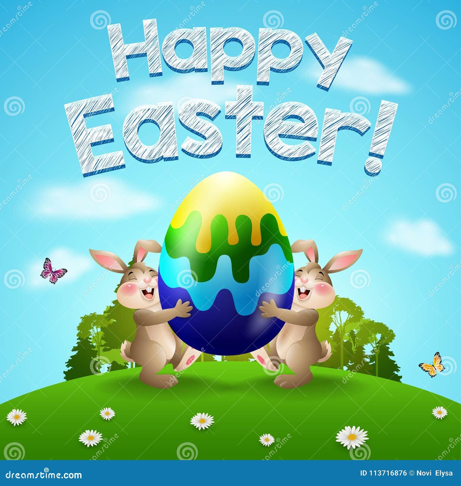 Ei Voor In De Tuin.Gelukkige Pasen Achtergrond Met Twee Konijnen En Ei Paashazen Die