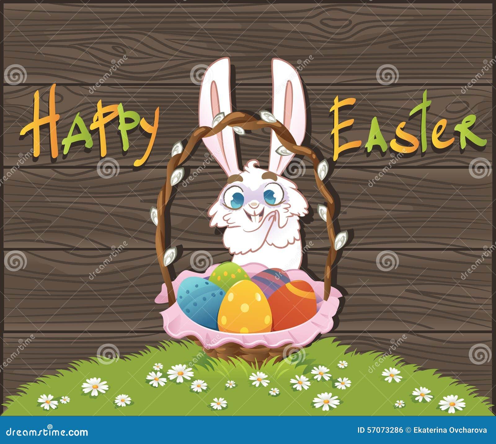 Gelukkige Pasen met eieren en konijn