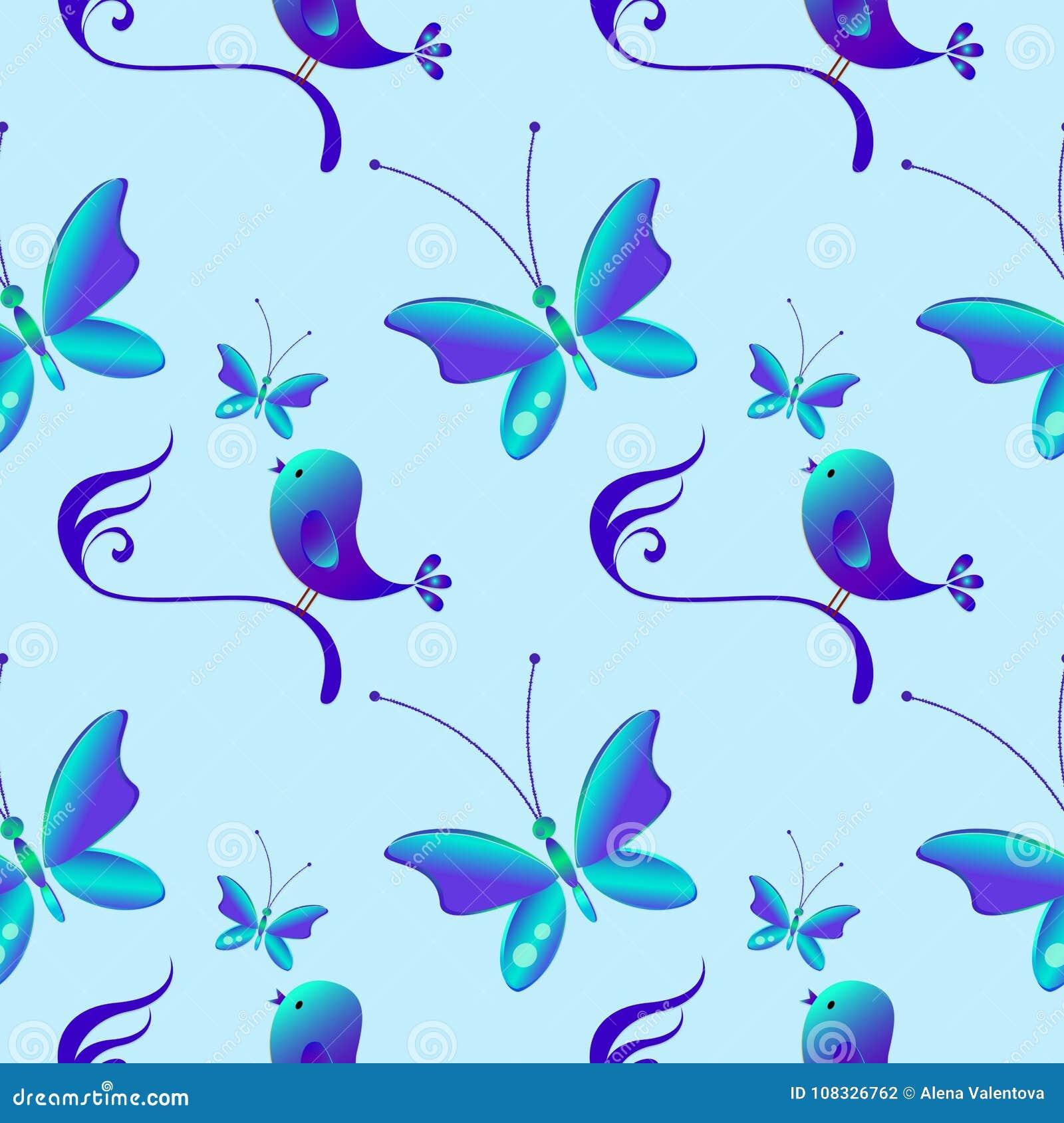 Gelukkige Pasen Naadloos patroon met vogels