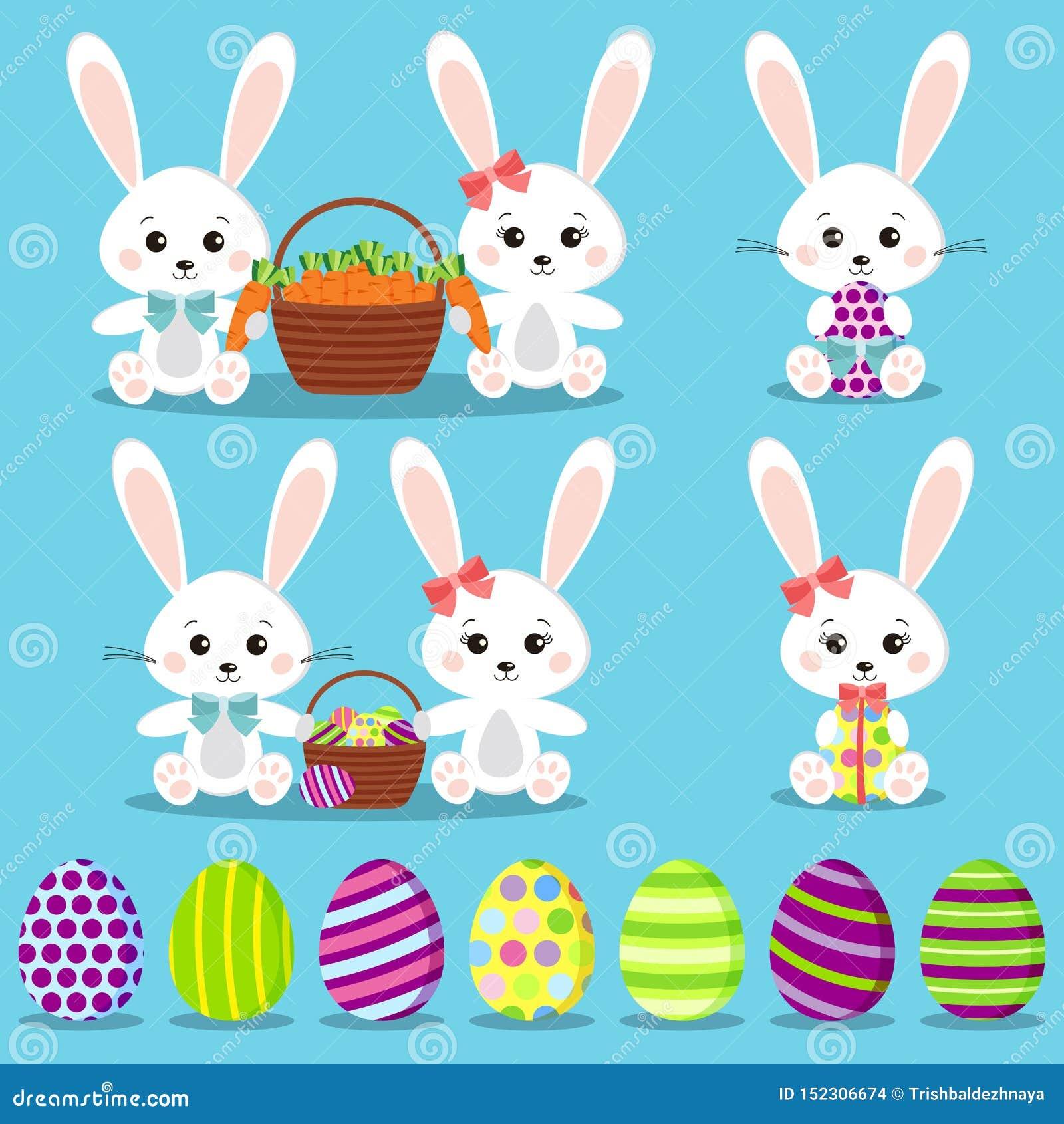Gelukkige Pasen plaatste: geïsoleerde grappige konijnen met kleurrijke eieren
