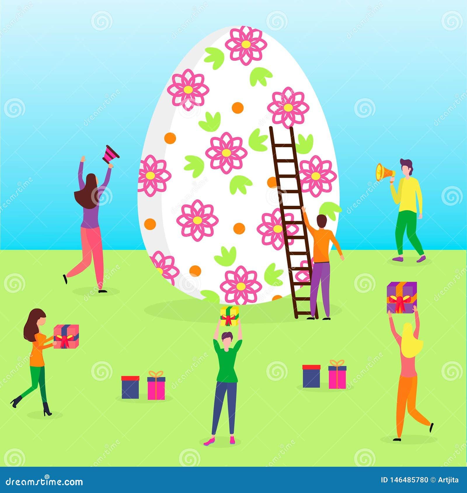 Gelukkige Pasen-sc?ne met uiterst kleine mensen