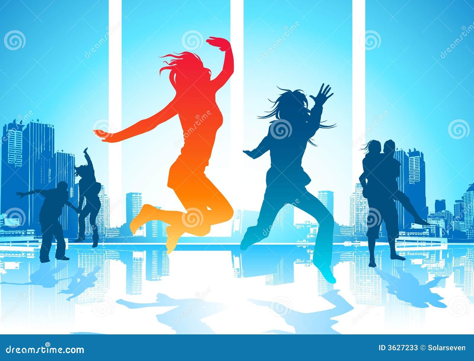 Gelukkige Springende Mensen
