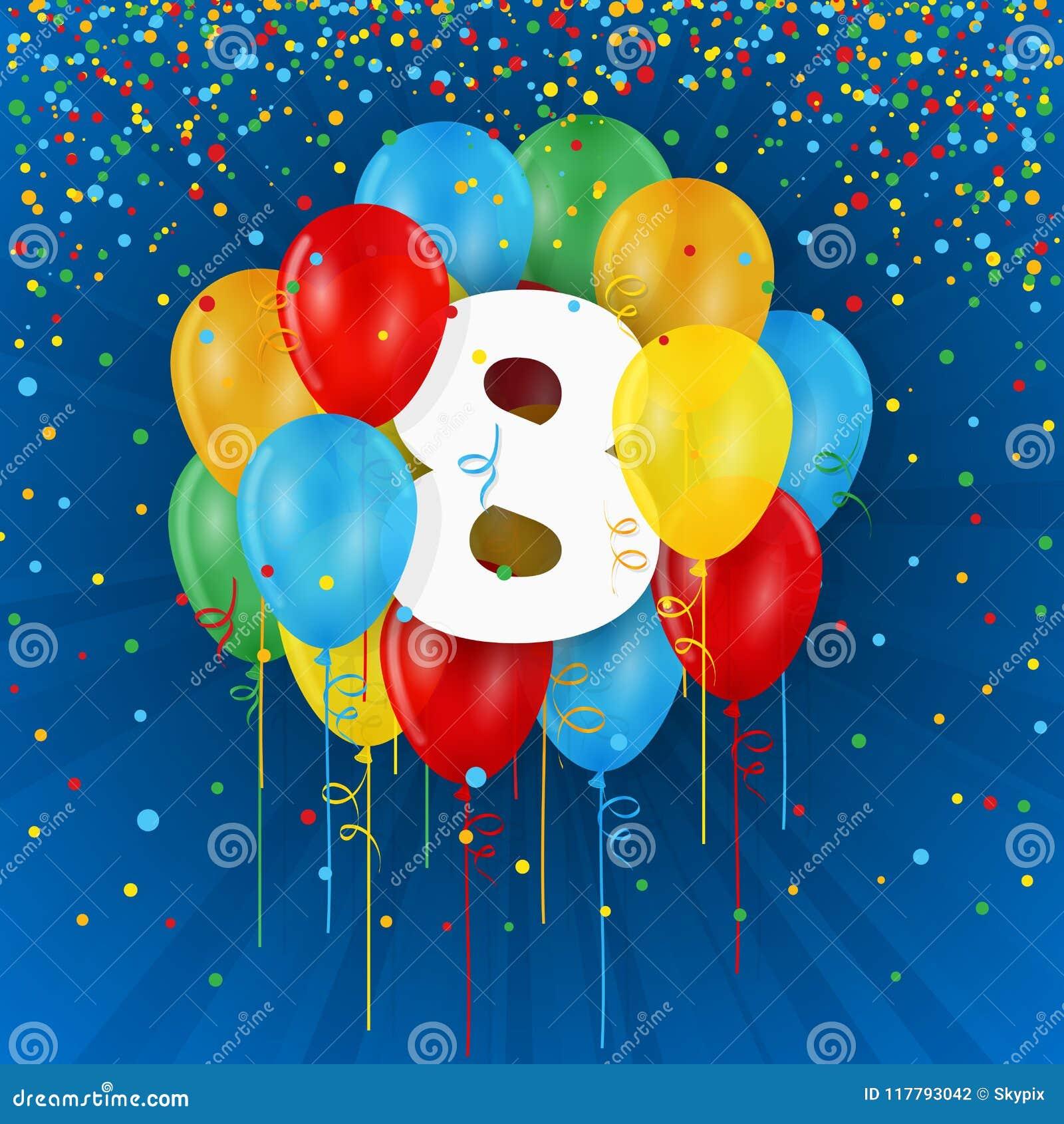 Gelukkige 8ste Verjaardag Verjaardagskaart Met Ballons Stock